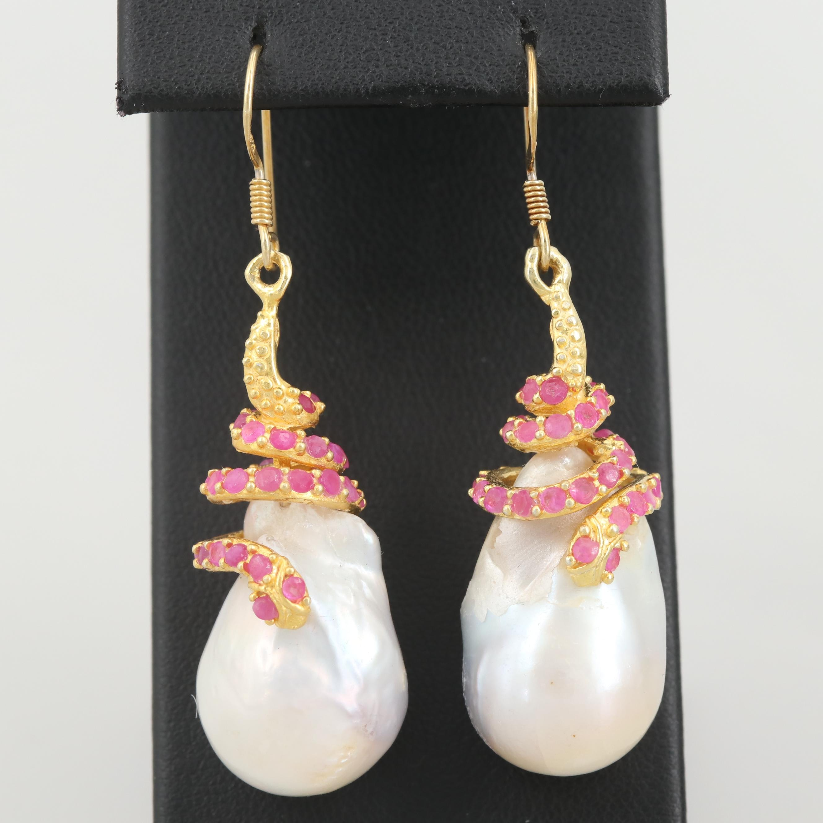 Gold Wash on Sterling Cultured Pearl and Ruby Dangle Earrings with Snake Motif