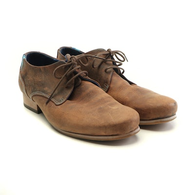 John Fluevog Radio CBC Brown Leather Derby Shoes with Blue Leather Accents