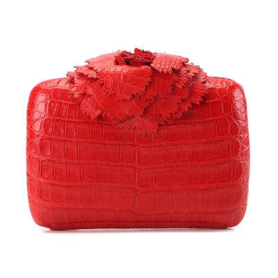 Nancy Gonzalez Red Carnation Crocodile Box Clutch Minaudière