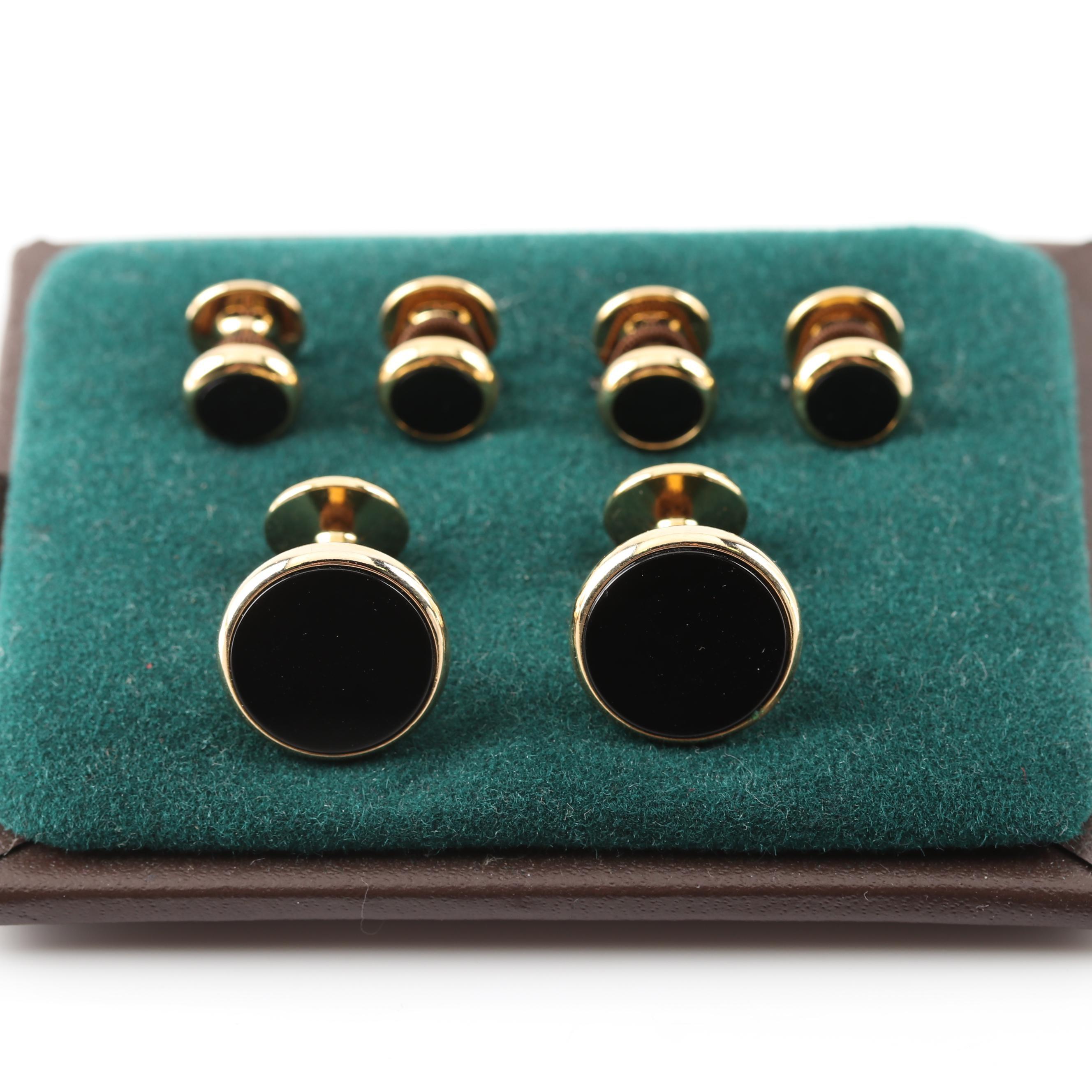 Gold Tone Black Onyx Cufflinks and Stud Set
