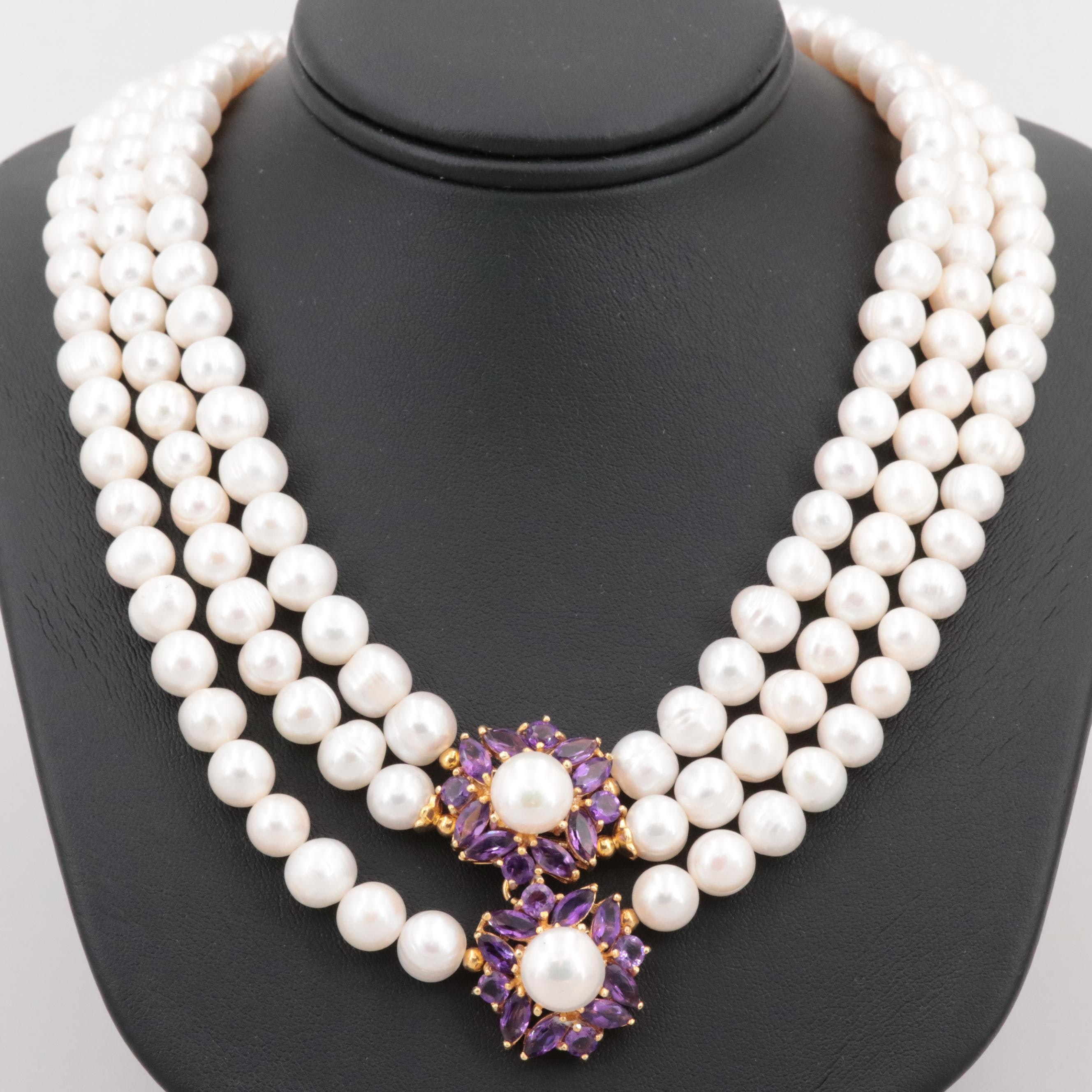 Gold Wash on Sterling Silver Cultured Pearl, Amethyst and Ruby Necklace