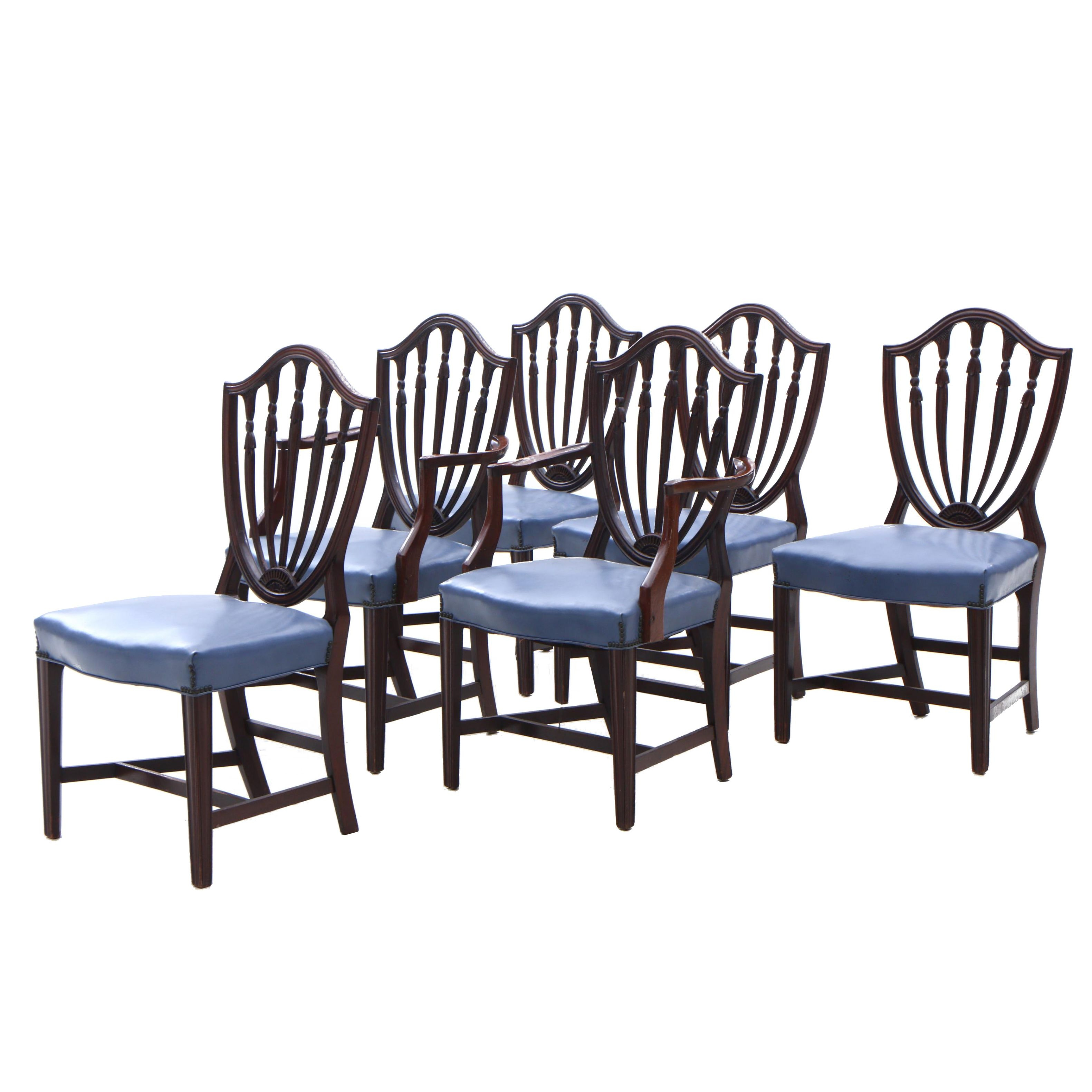 Hepplewhite Style Upholstered Arm and Side Chairs with Nailhead Detailing