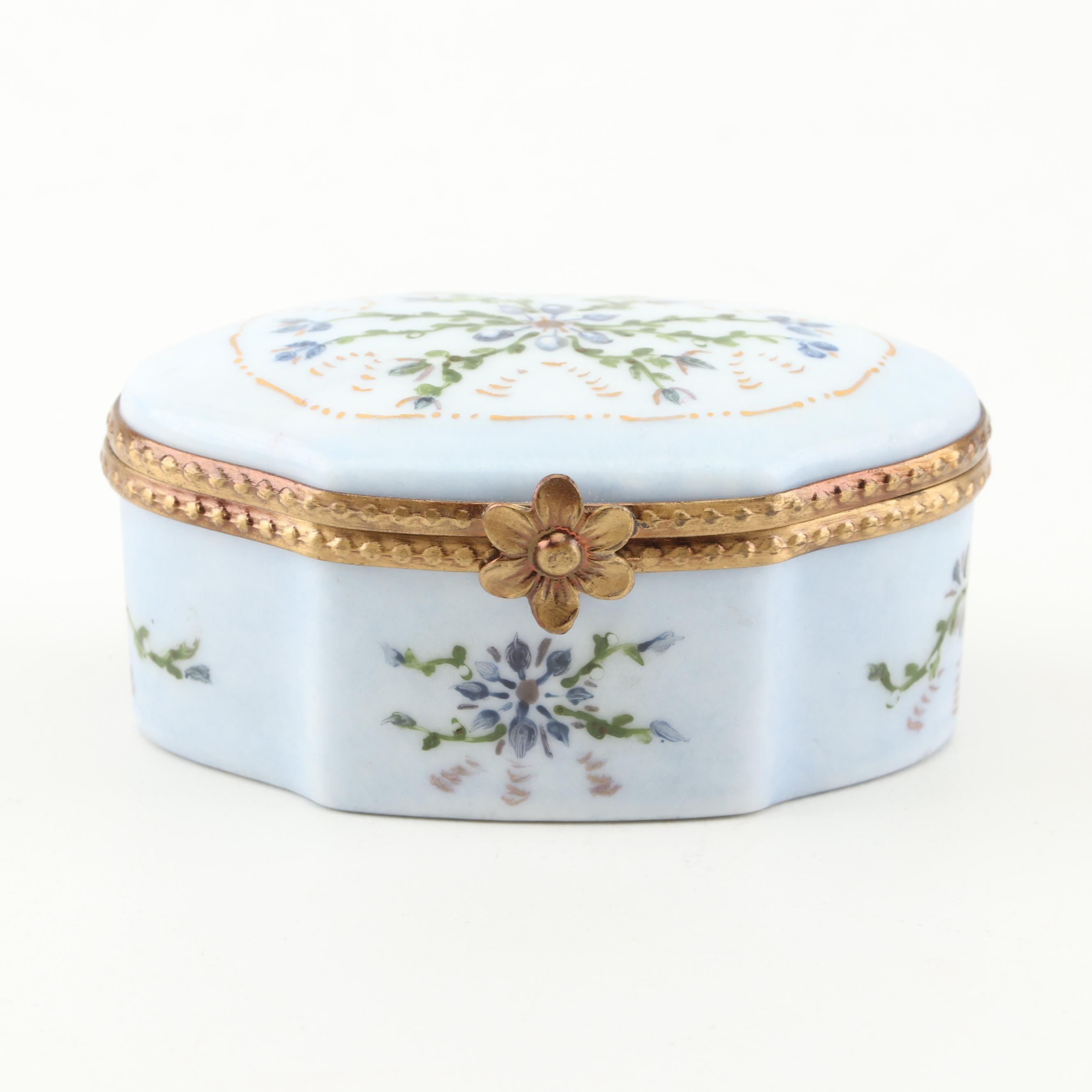 Limoges Hand-Painted Faison Porcelain Trinket Box, 1998