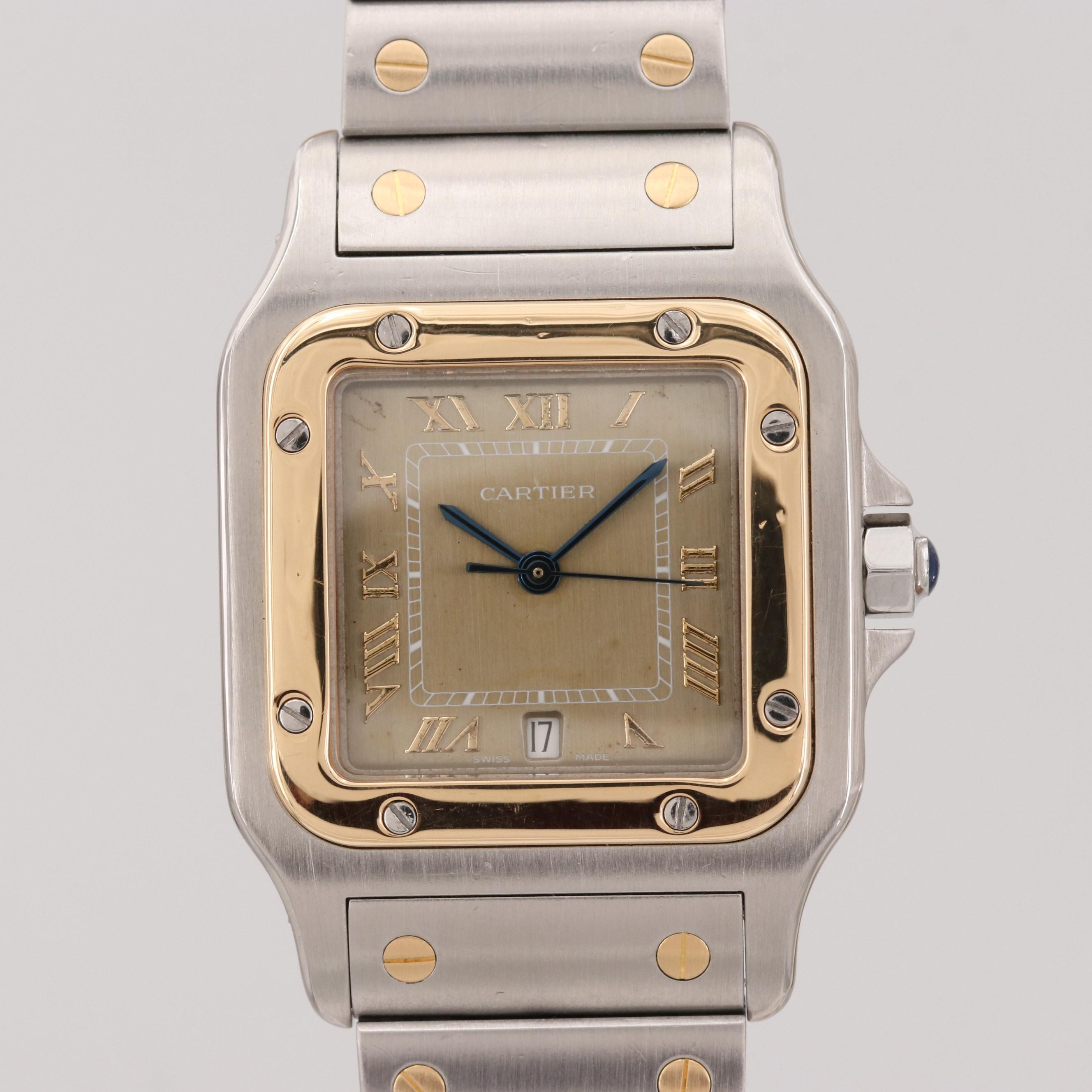 Cartier Santos Galbee 18K Yellow Gold and Stainless Steel Quartz Wristwatch