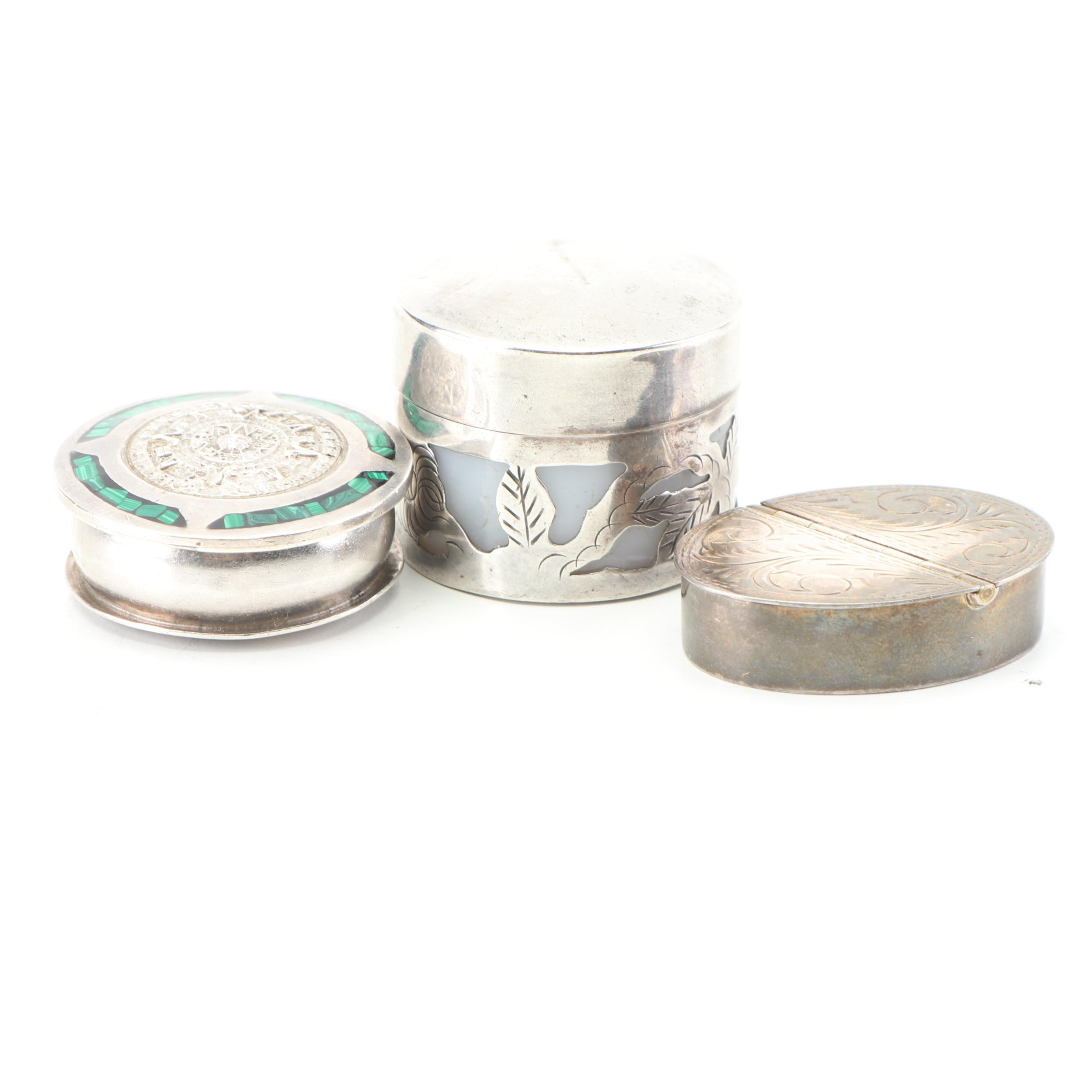 Sterling Silver with Malachite Inlay and Other Pill Boxes, 20th Century
