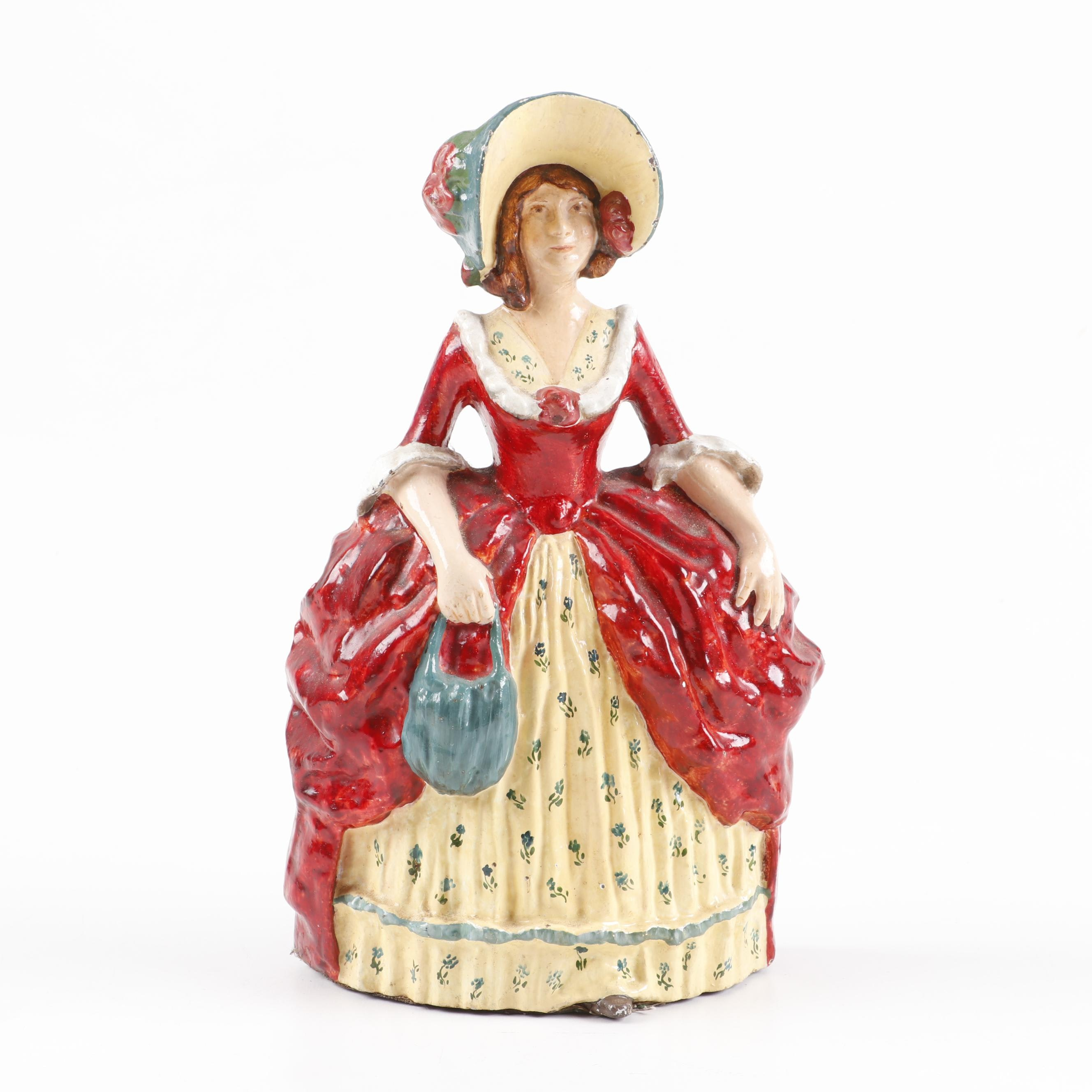 Hand-Painted Polychrome Cast Iron Victorian Lady Doorstop, Early 20th Century