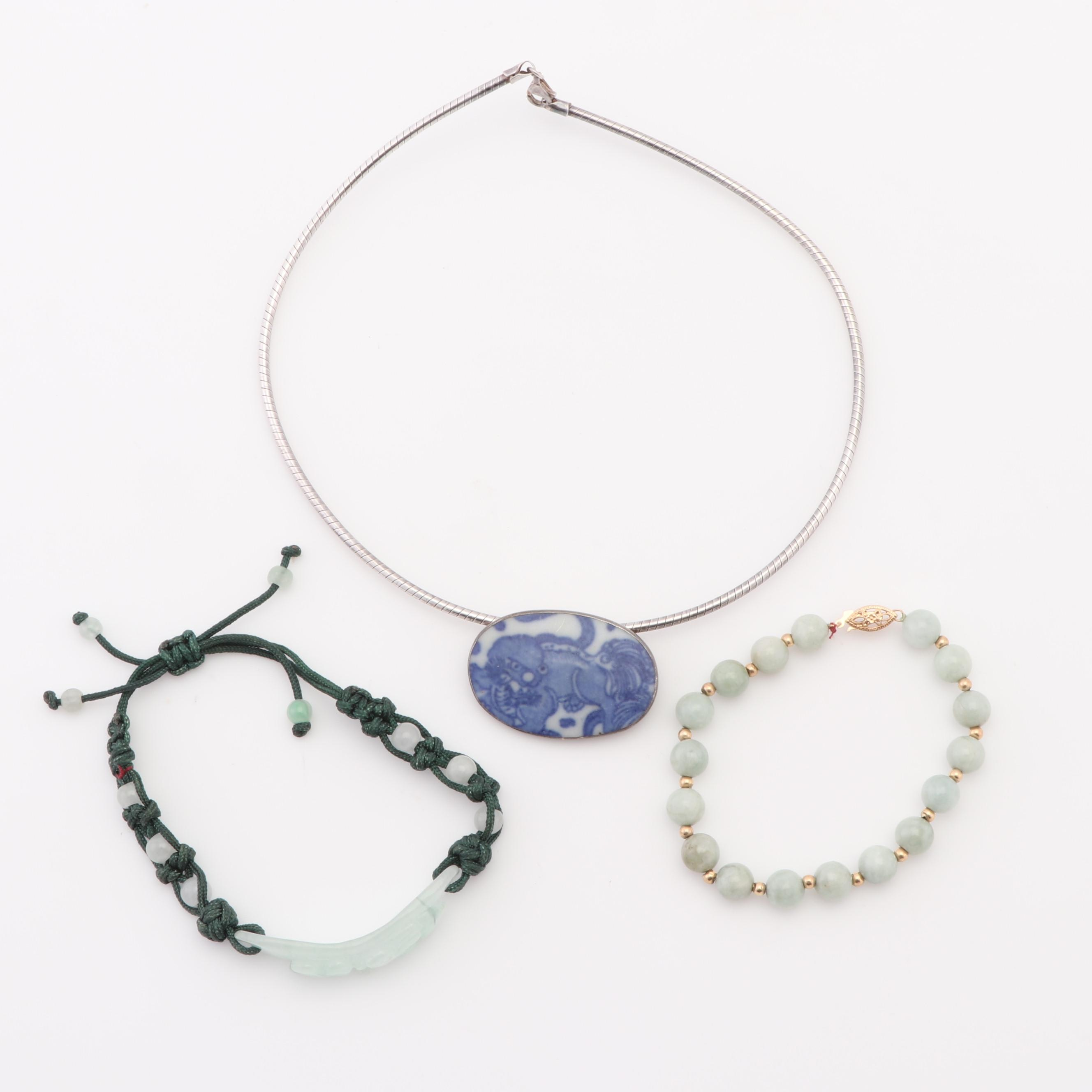 14K Yellow Gold and Sterling Silver Jewelry with Jade and Painted Ceramic