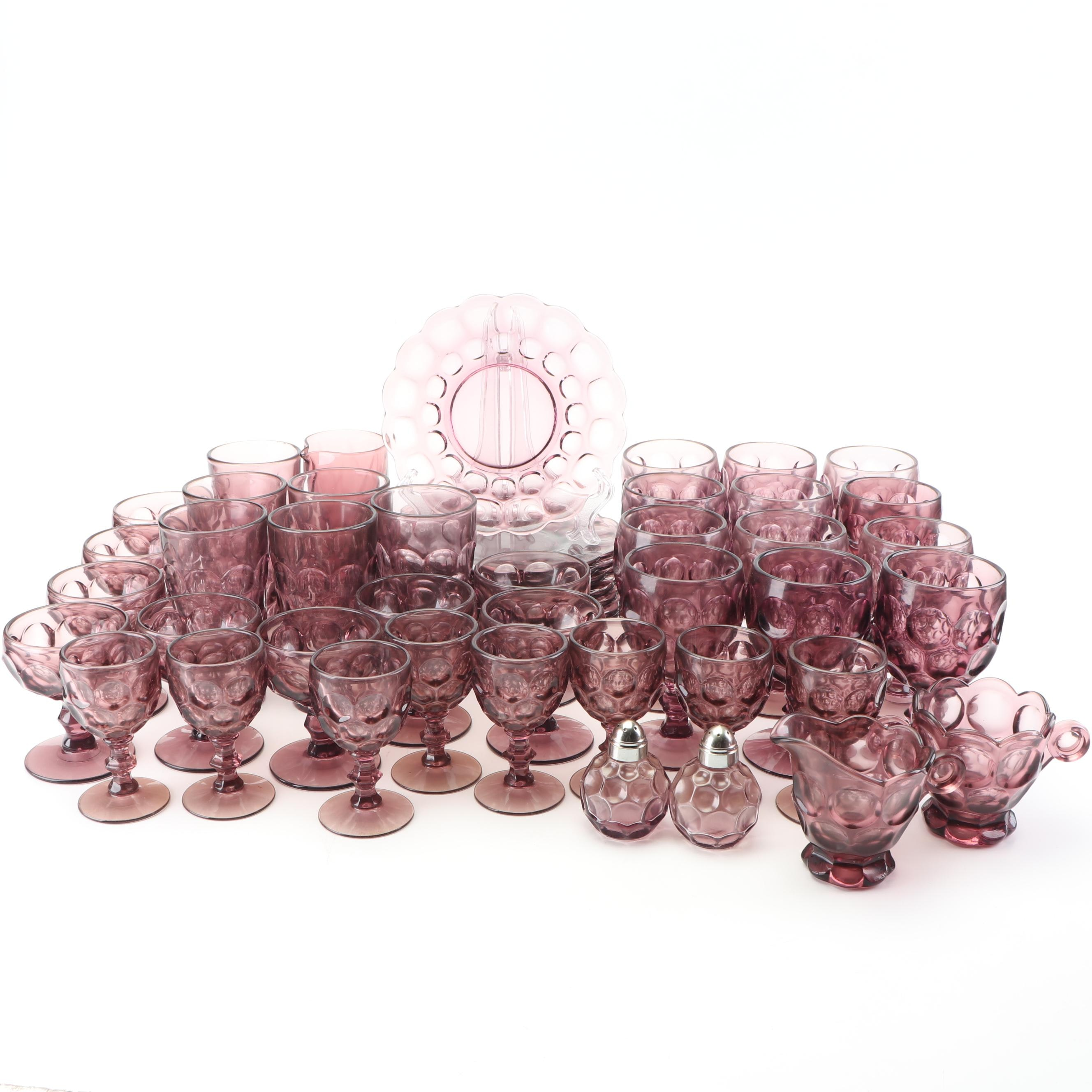 "Heisey Glass ""Whirlpool Amethyst"" and other Dinnerware  , c 1930s-1960s"