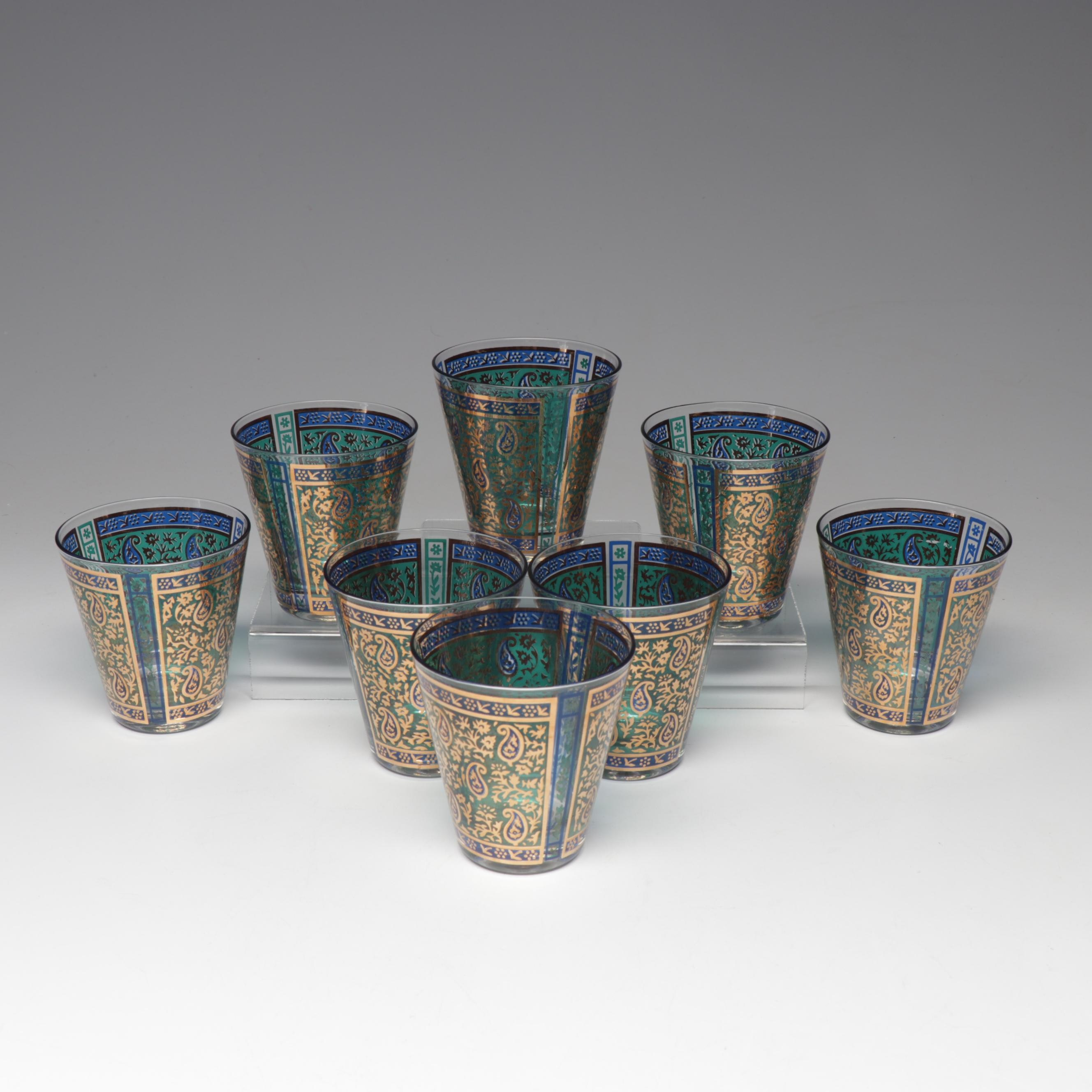 Mid-Century Modern Georges Briard Gold Paisley Glass Tumblers