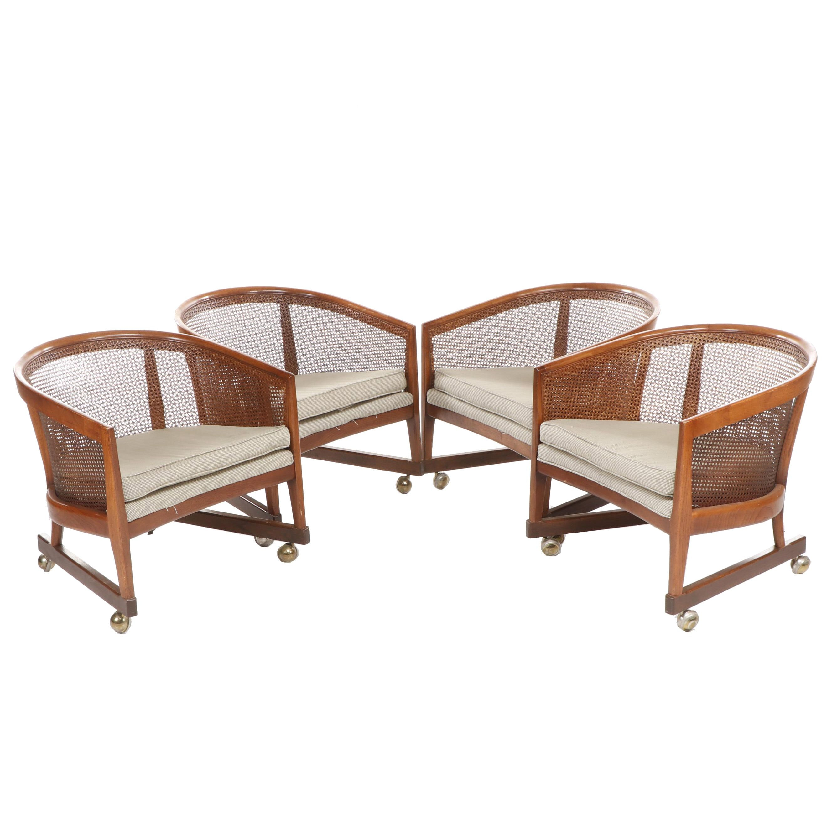 Mid Century Cane Back Pull-Up Chairs on Casters
