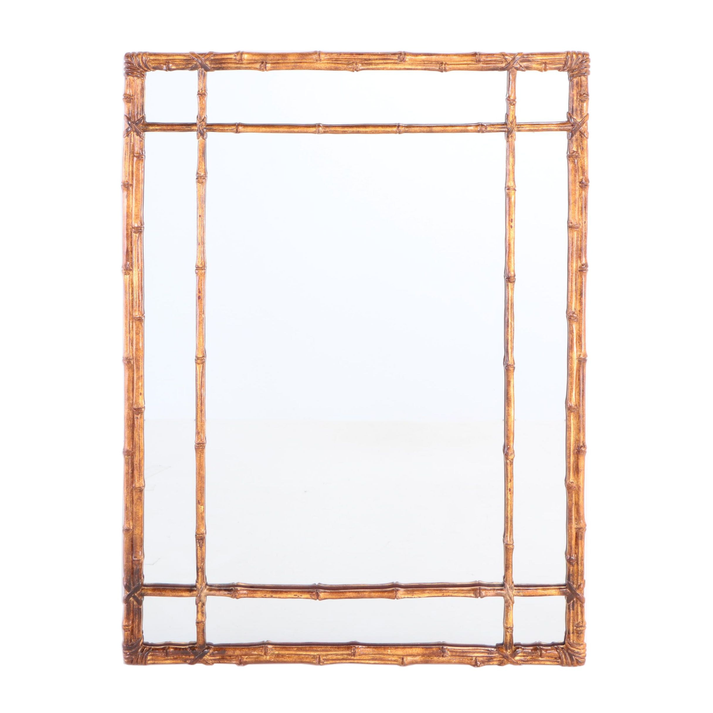 Gilt-Decorated Simulated Bamboo Mirror, 20th Century