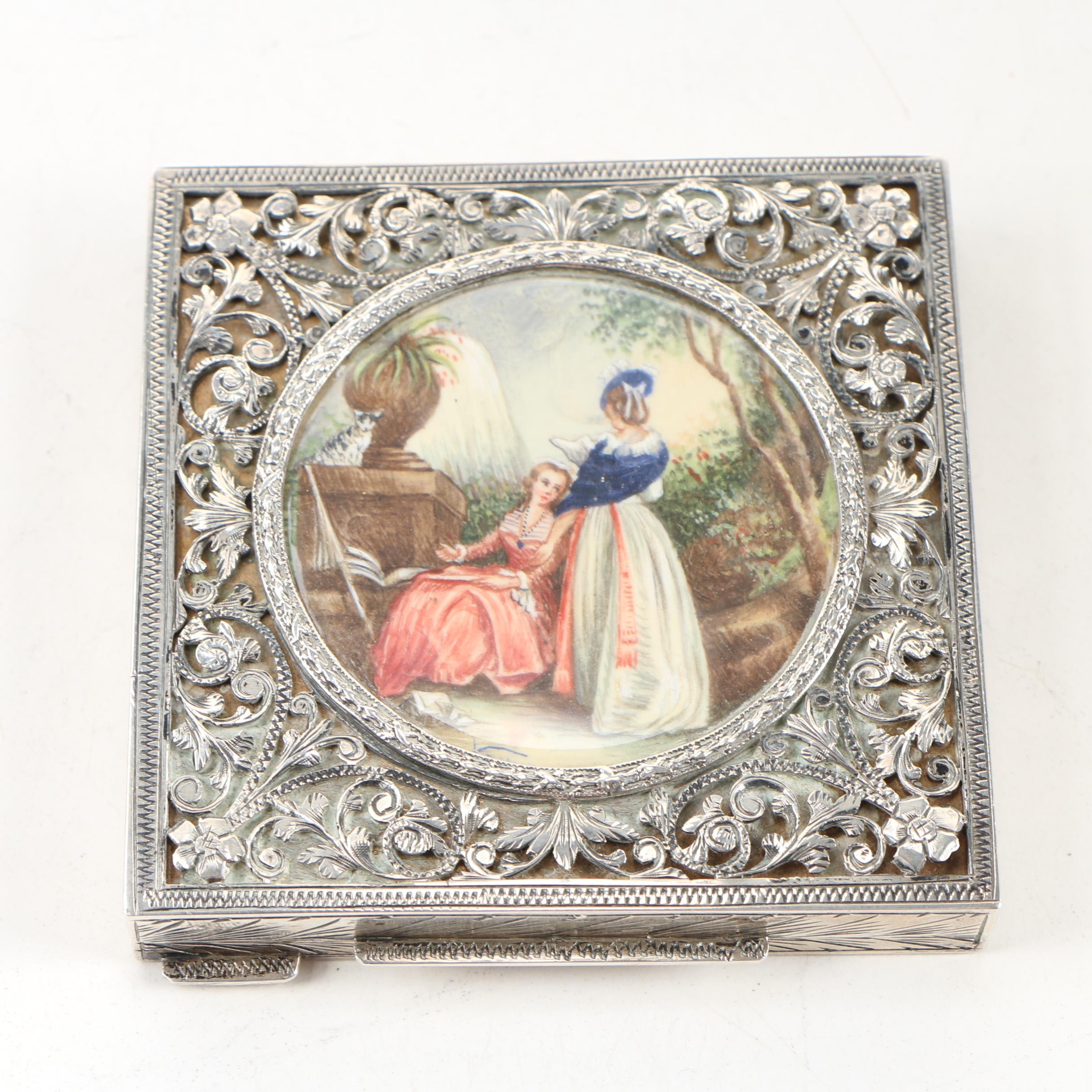 Italian 800 Silver Powder Compact with Inset Painting, Early 20th Century