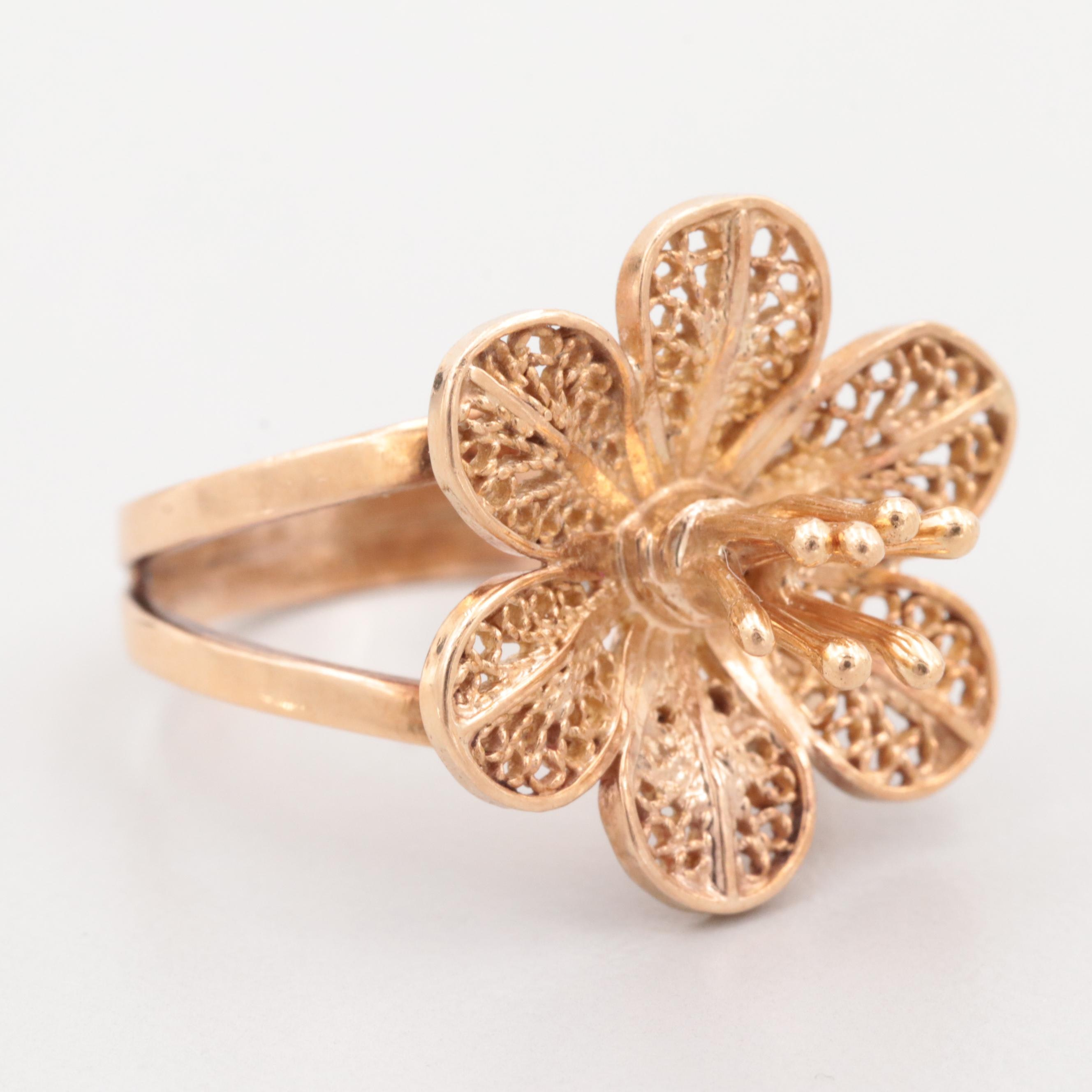 18K Yellow Gold Floral Filigree Ring
