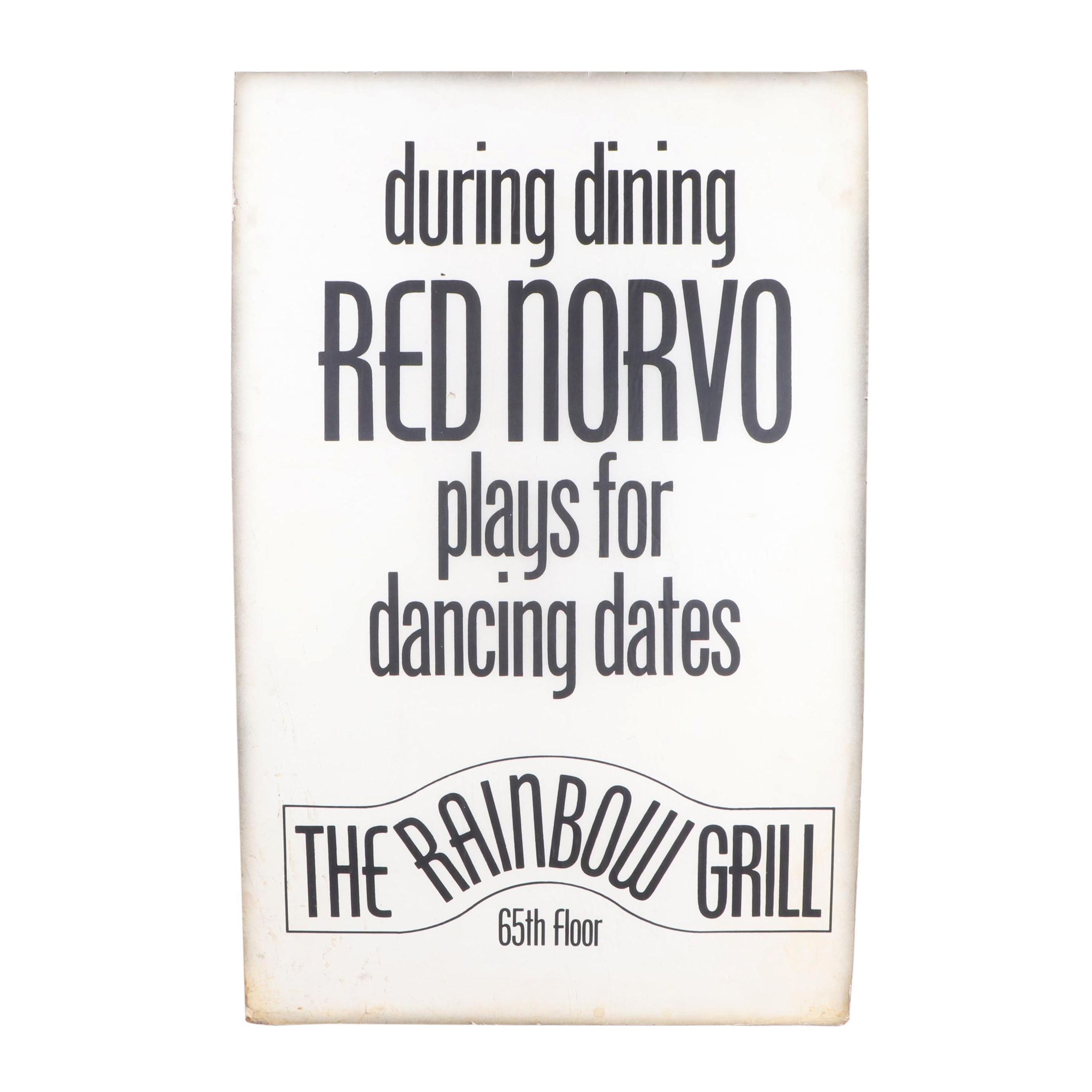 Red Norvo Rainbow Grill Concert Poster, 1960s, Jack Bradley Estate