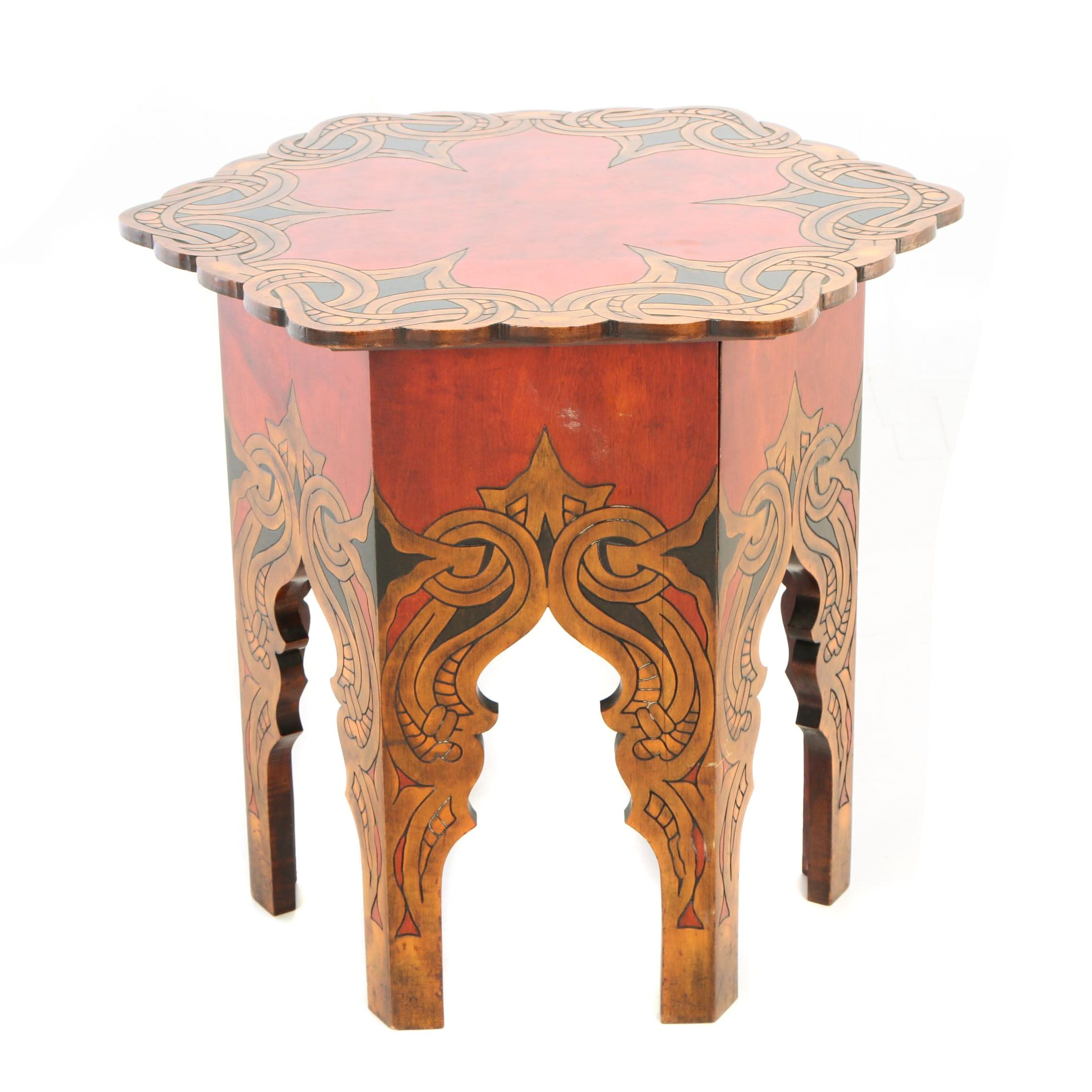Arts and Crafts Incised Three-Color Tabouret, Early 20th Century