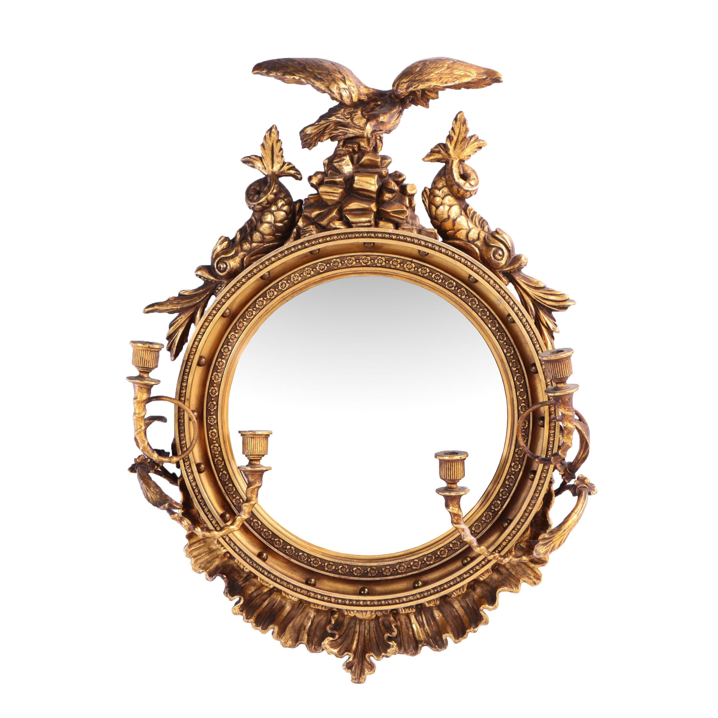 Federal Style Giltwood and Composition Girandole Mirror