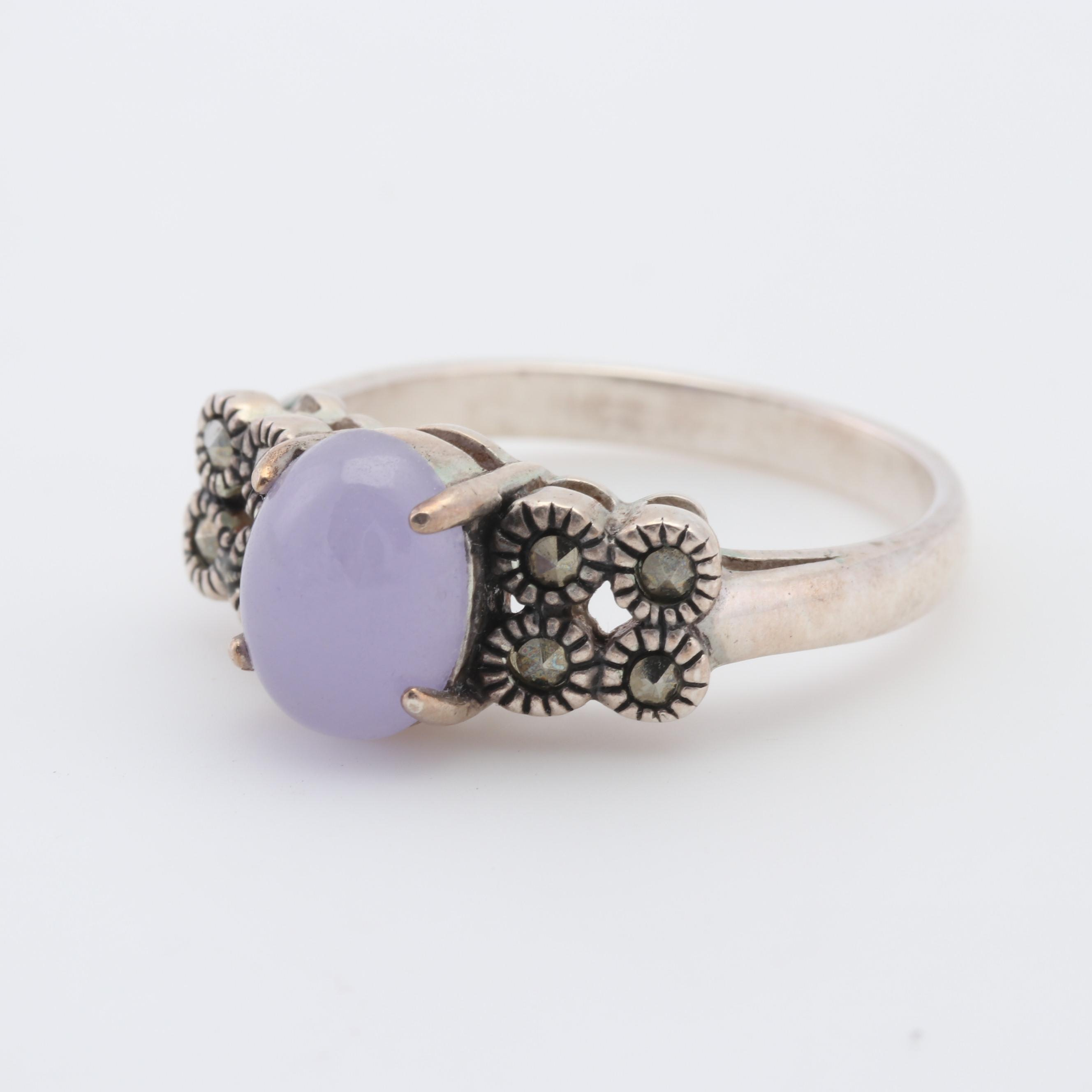 Sterling Silver Chalcedony and Hematite Ring