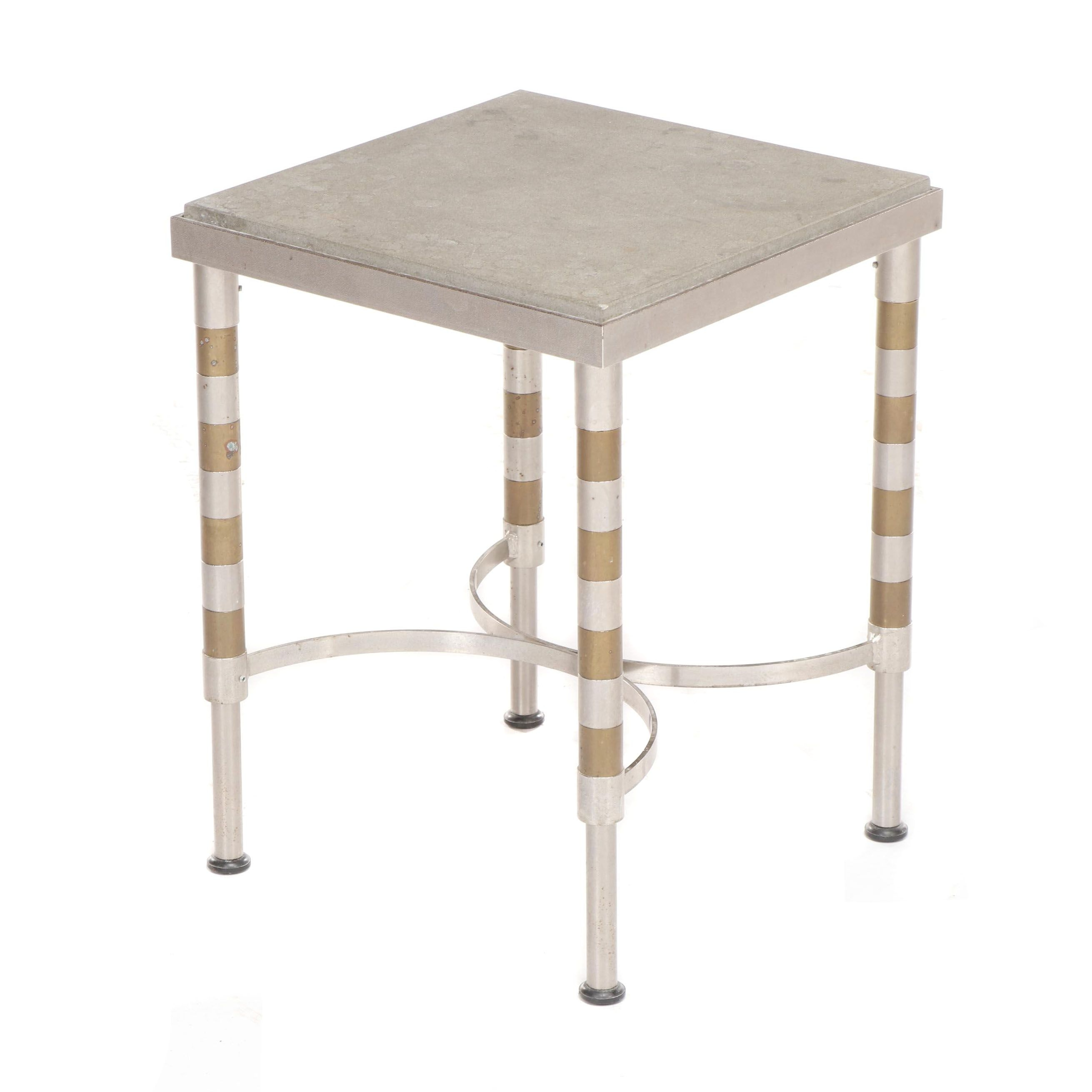 Stone Topped Steel Table with Brass Banded Legs