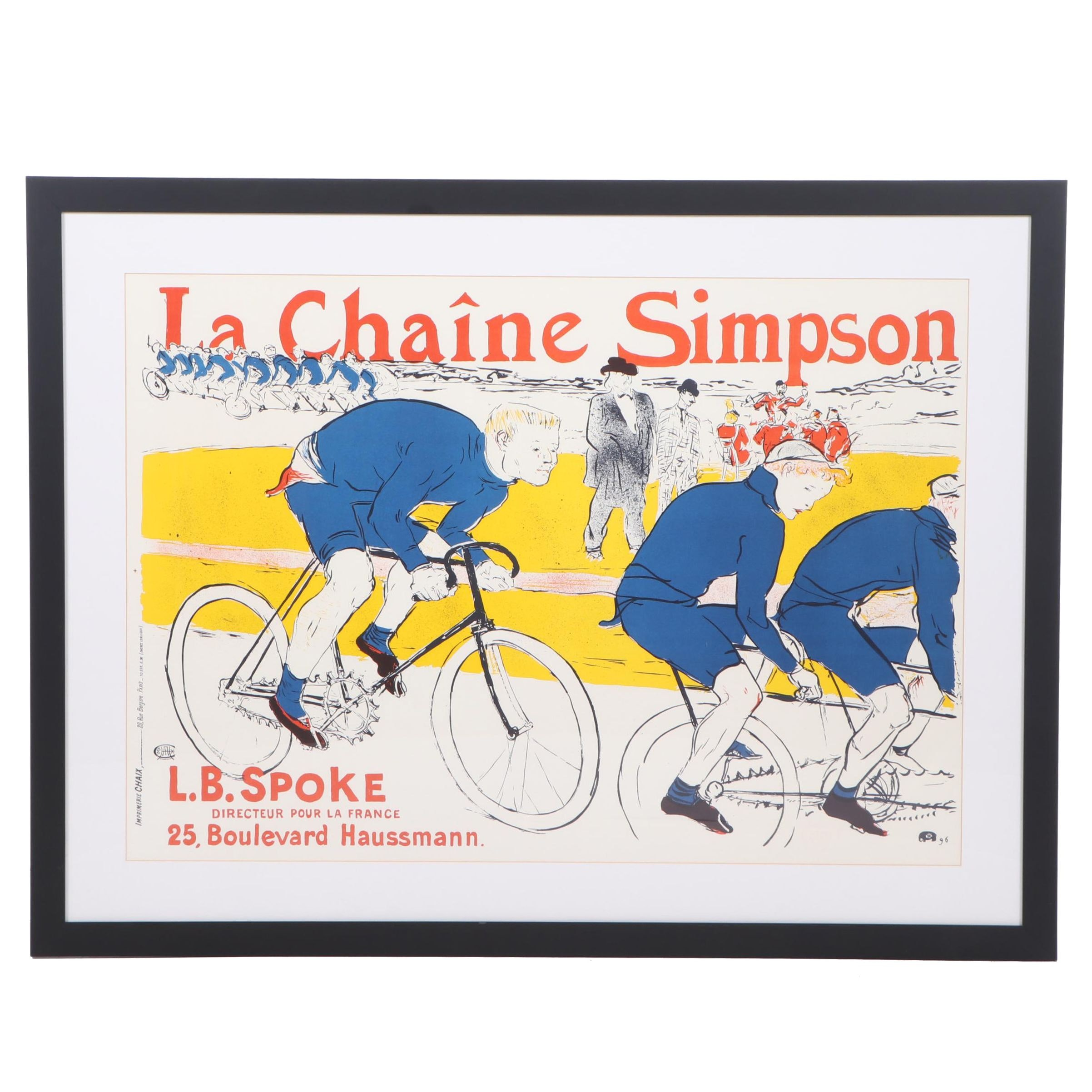 "Lithograph Poster after Henri de Toulouse-Lautrec ""La Chaine Simpson"""