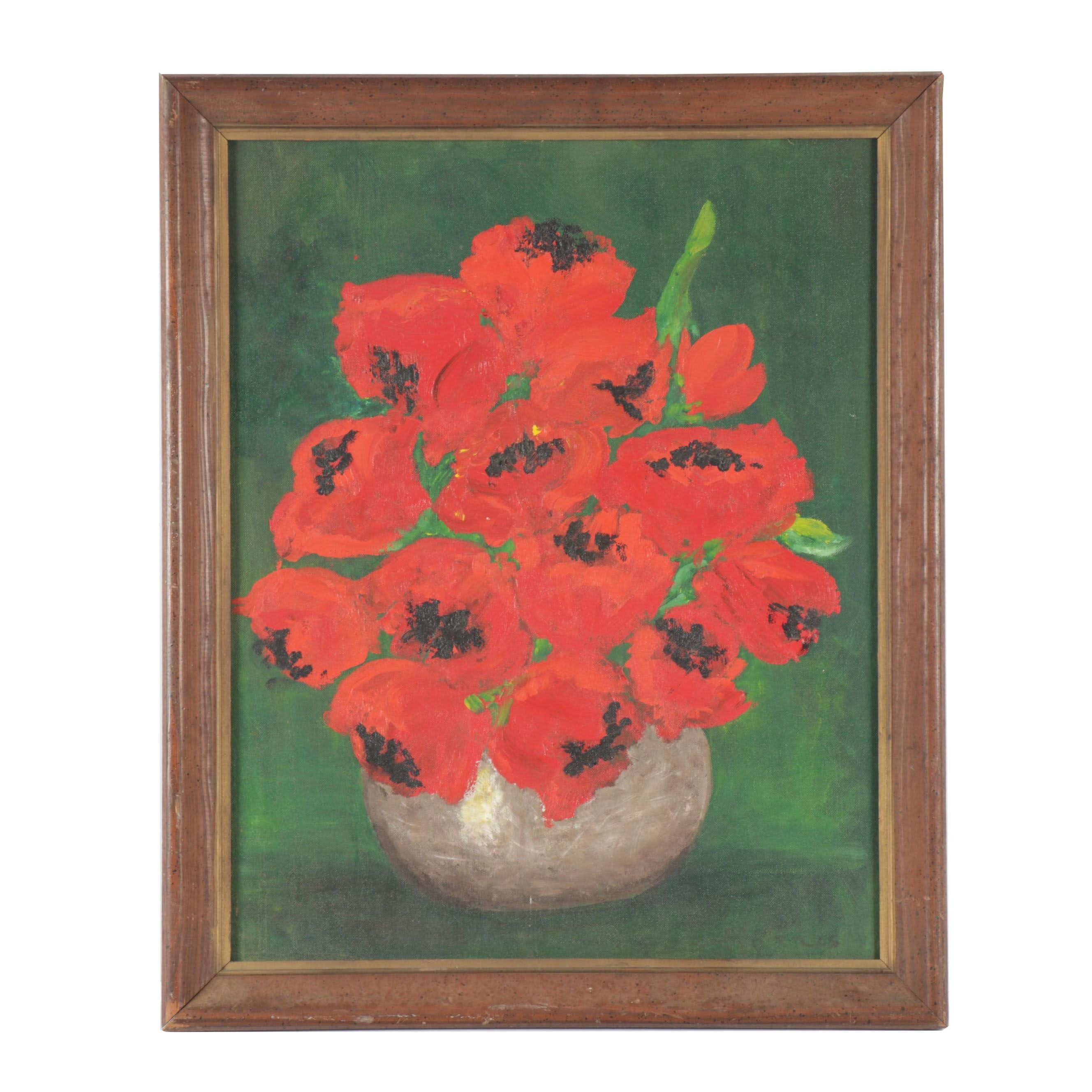 Bouquet of Poppies Still Life Oil Painting