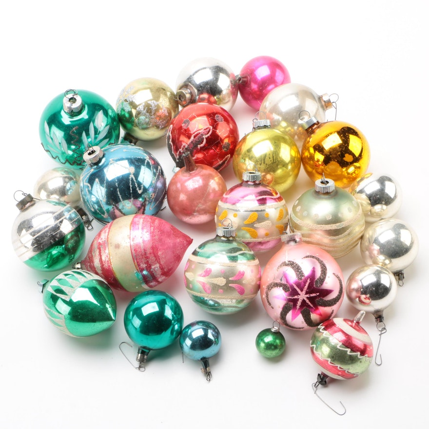 Vintage Glass Christmas Ornaments In Variety Of Sizes And Colors