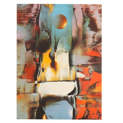 Leonardo Nierman Embossed Abstract Lithograph
