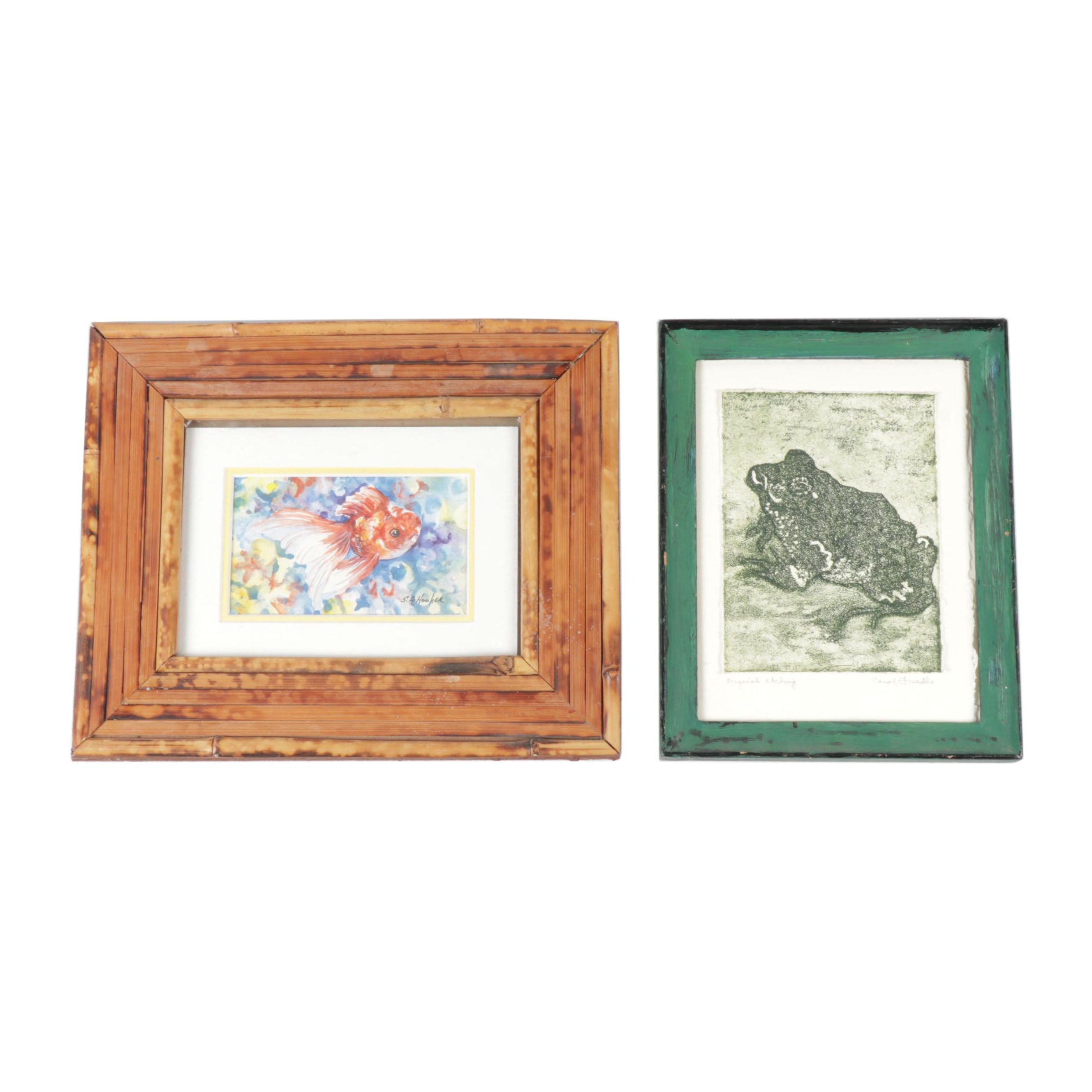 20th Century Frog Aquatint and Etching and Fish Watercolor Painting