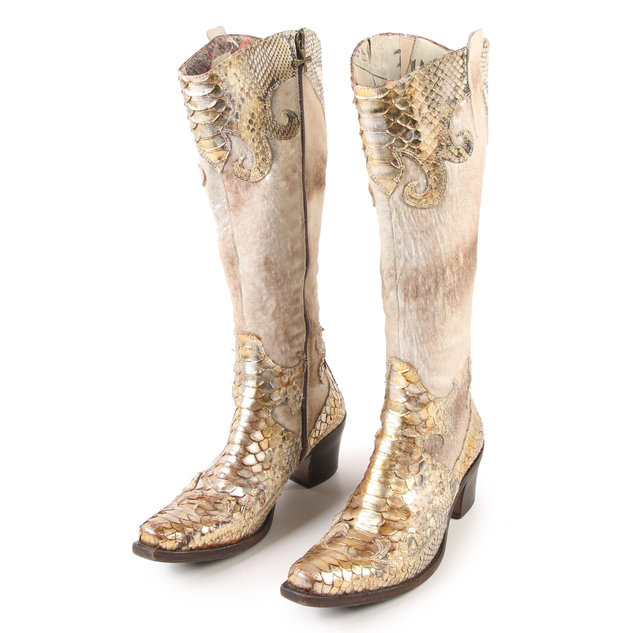 Women's Siren by Mark Nason Python and Pony Hair Western Boots