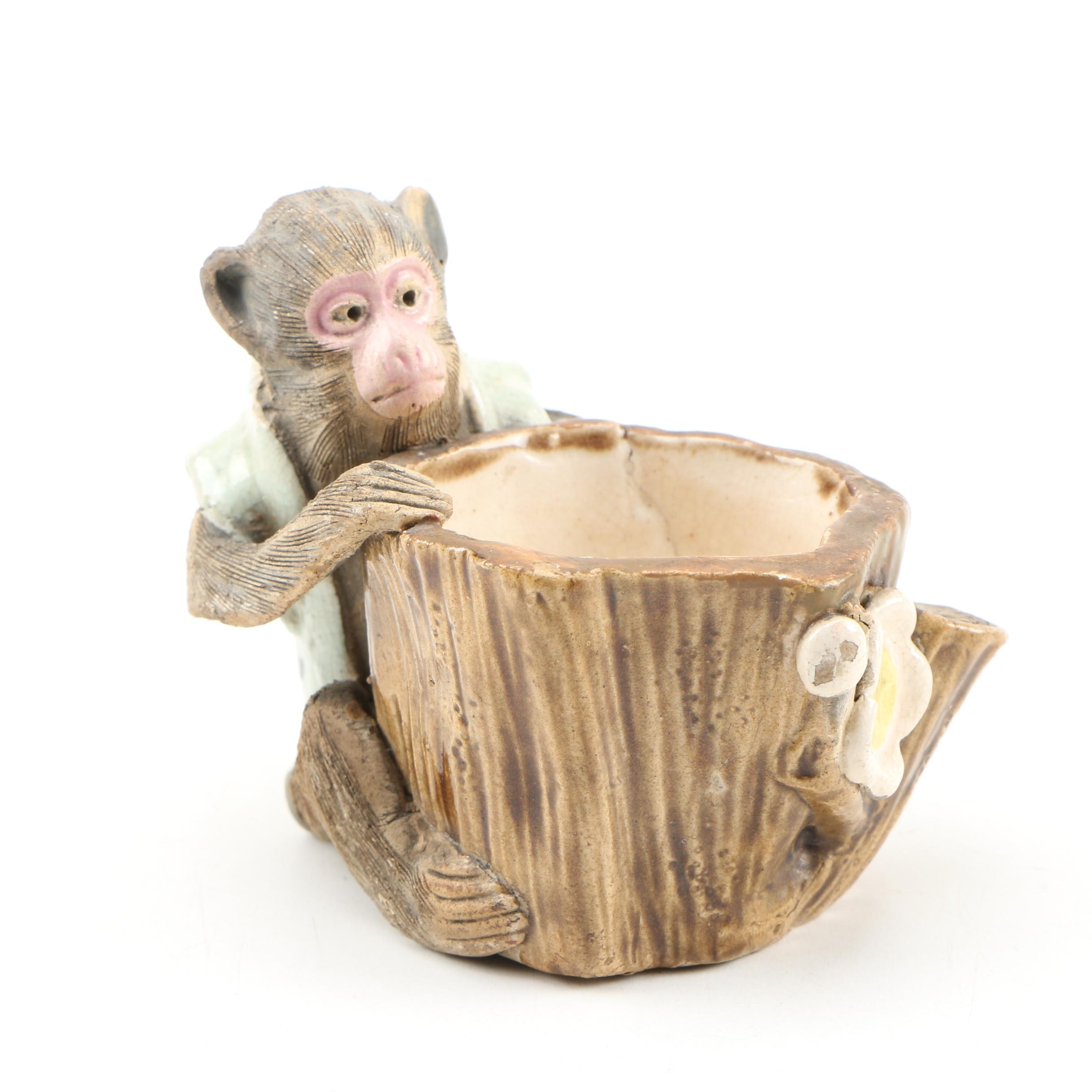 Chinese Shiwan Ware Monkey Matchstick Holder, Early 20th Century