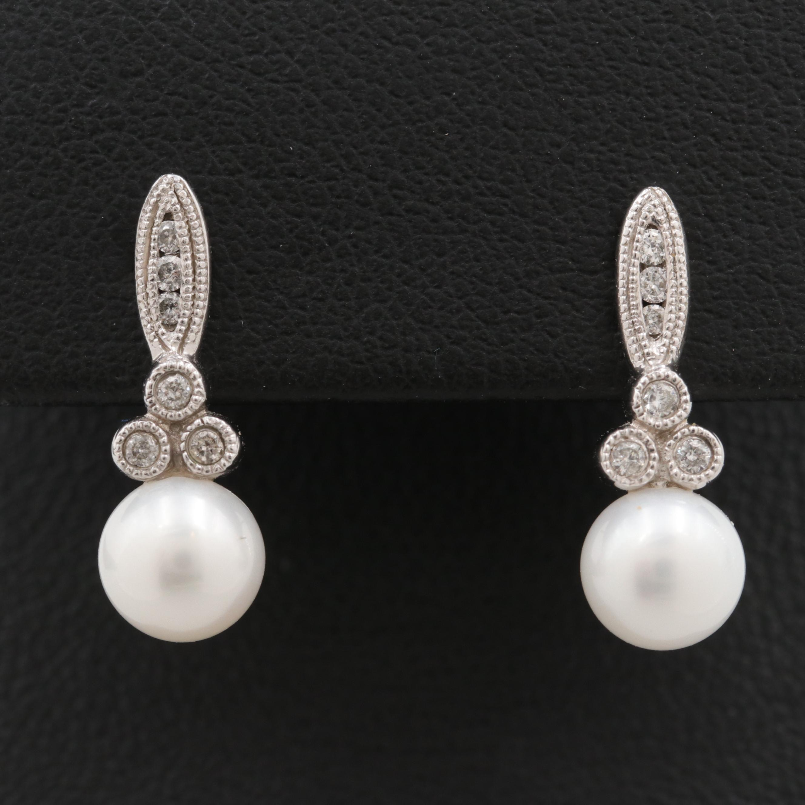 10K White Gold Diamond and Cultured Pearl Earrings