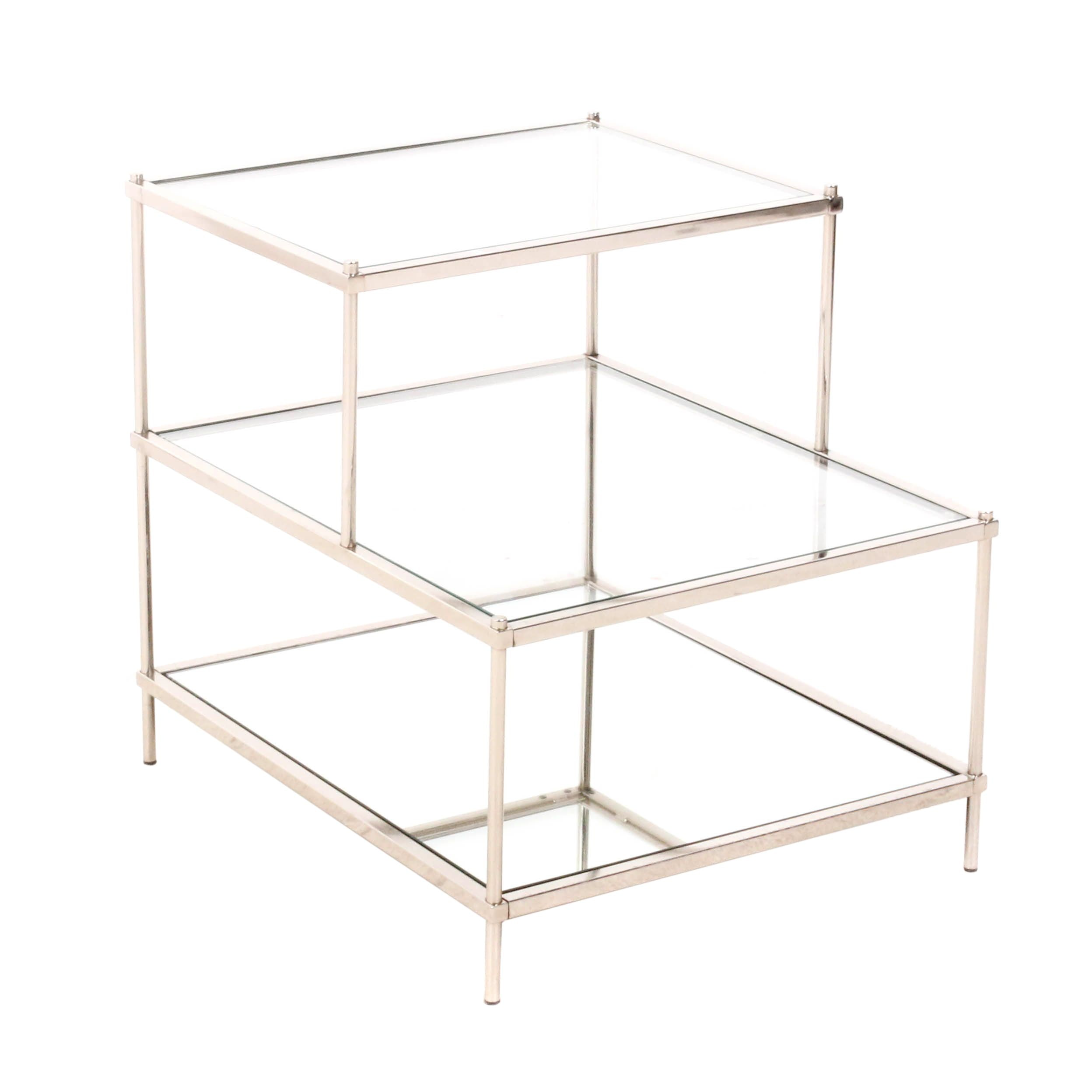 Chromed Metal Glass-Top End Table, Contemporary