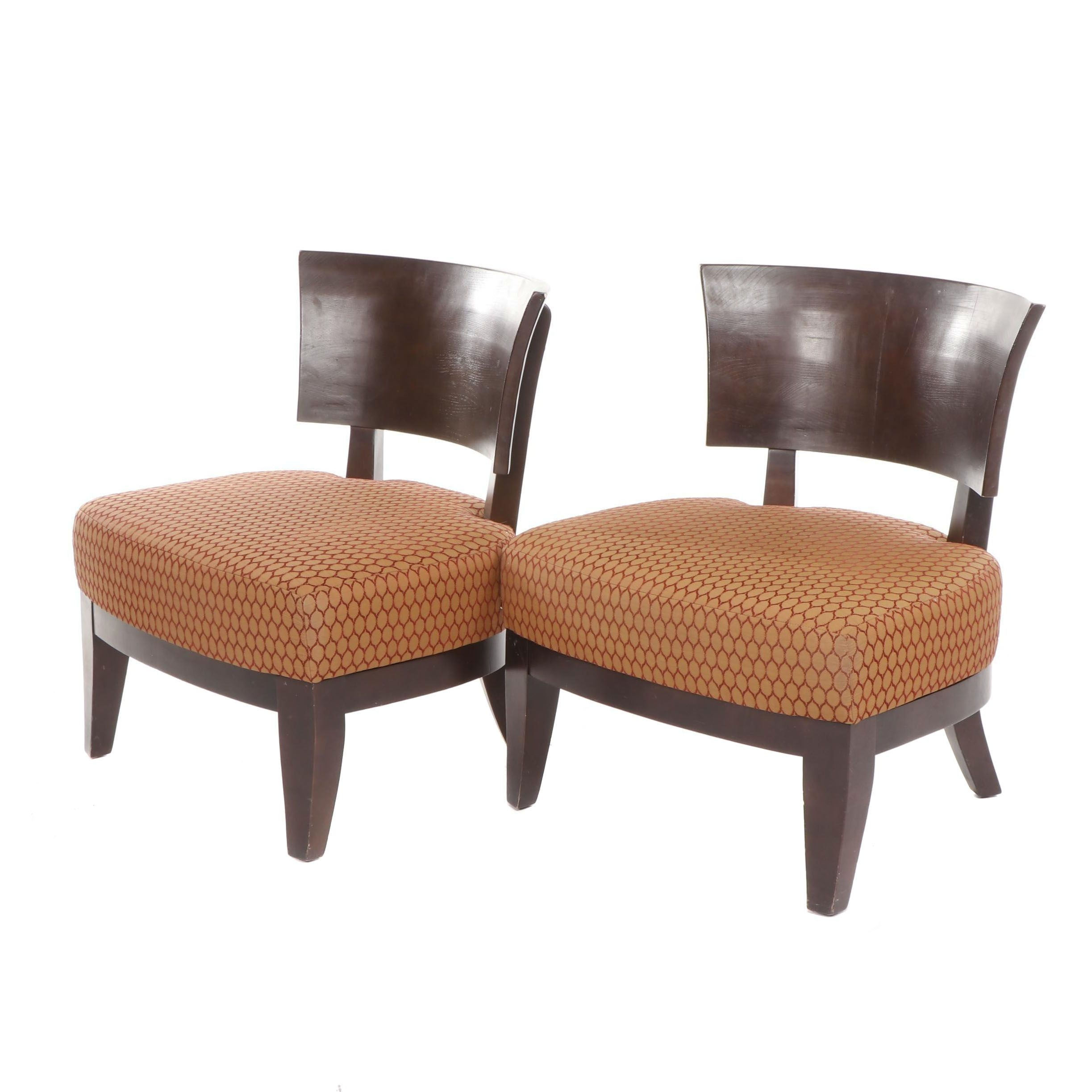 Oversized Wooden Chairs with Upholstered Seats