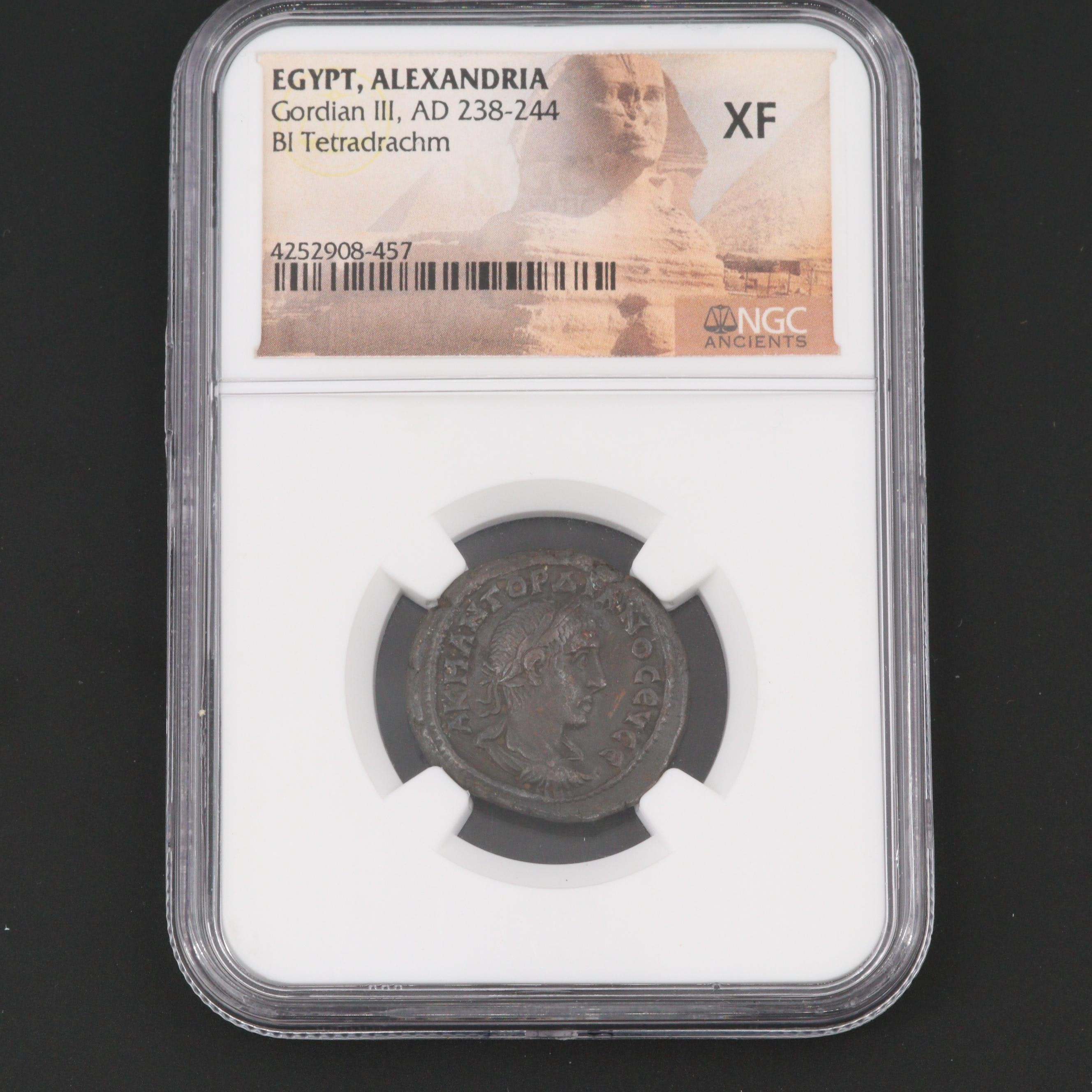 NGC Graded XF Egypt, Alexandria Gordian III Billon Tetradrachm, ca. 240 A.D.