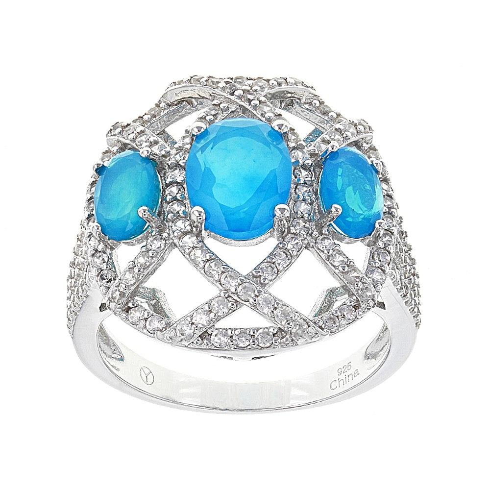 Sterling Silver Opal and Zircon Ring