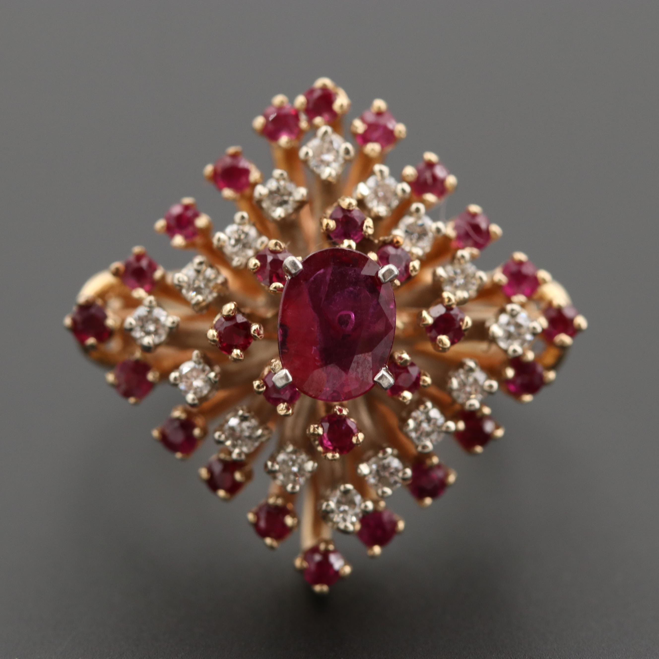 Vintage Diamond Shaped 14K Yellow Gold Ruby and Diamond Ring