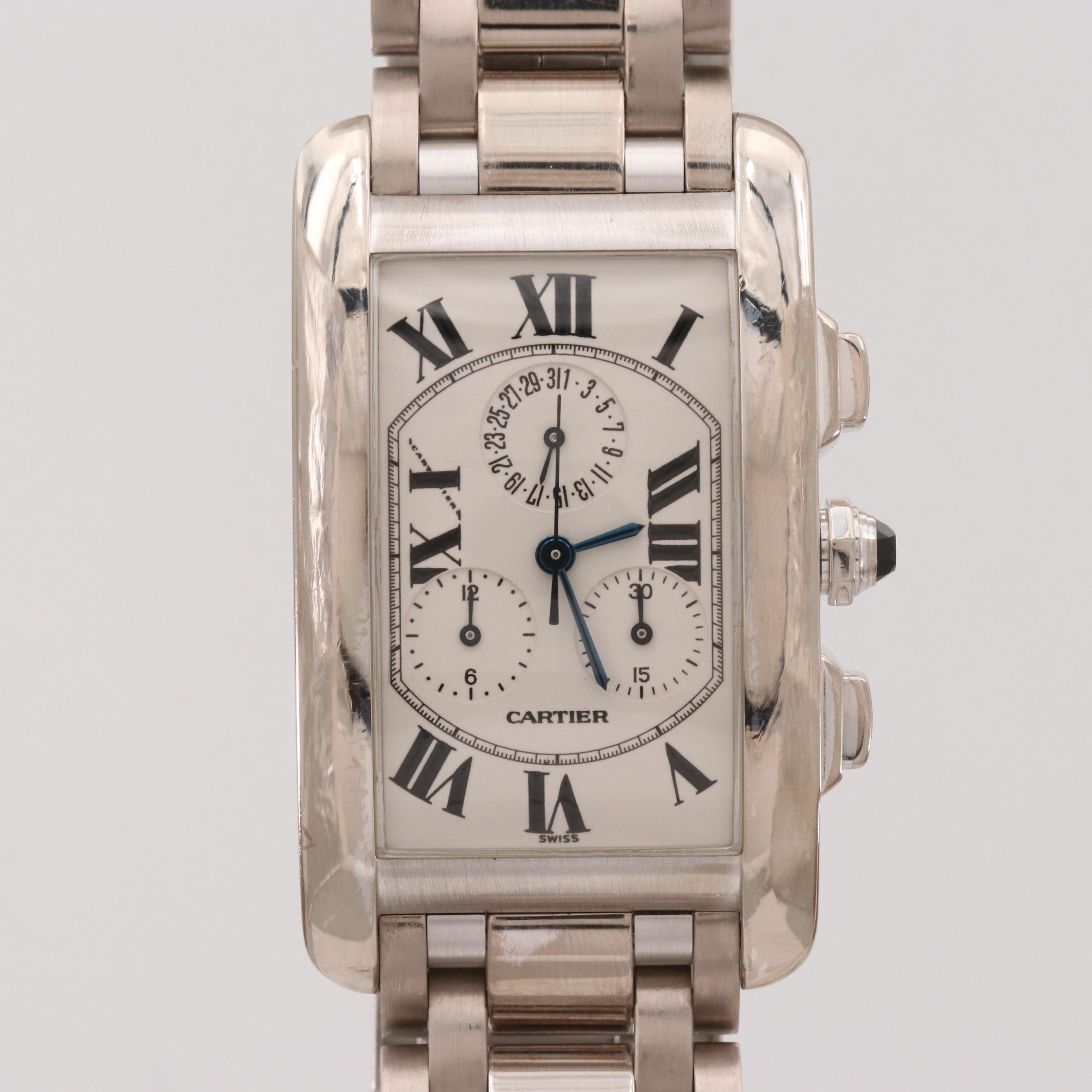 Cartier Tank Americaine Chronoflex 18K White Gold Quartz Wristwatch
