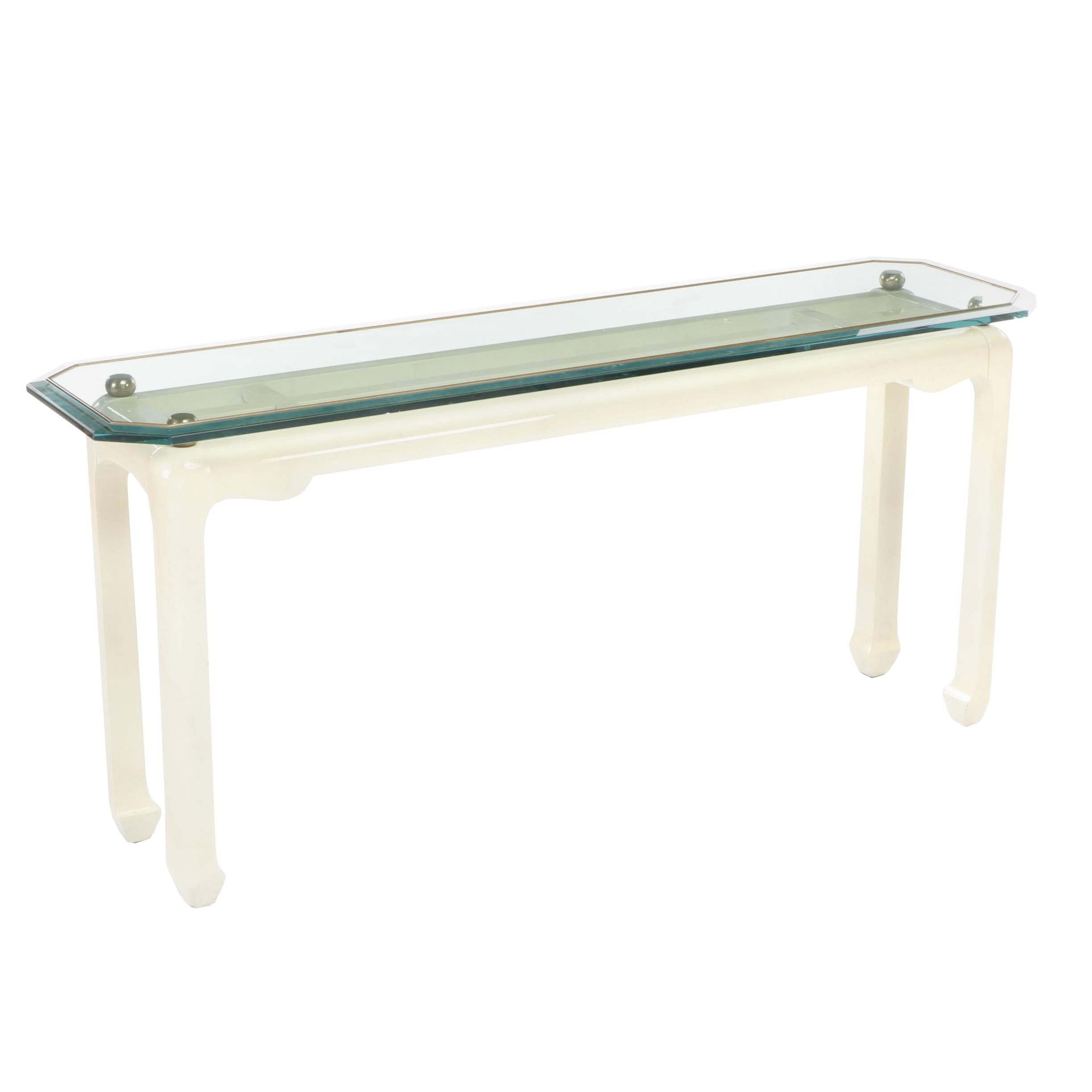 Glass Top Console Table In the Style of Karl Springer, Circa 1980