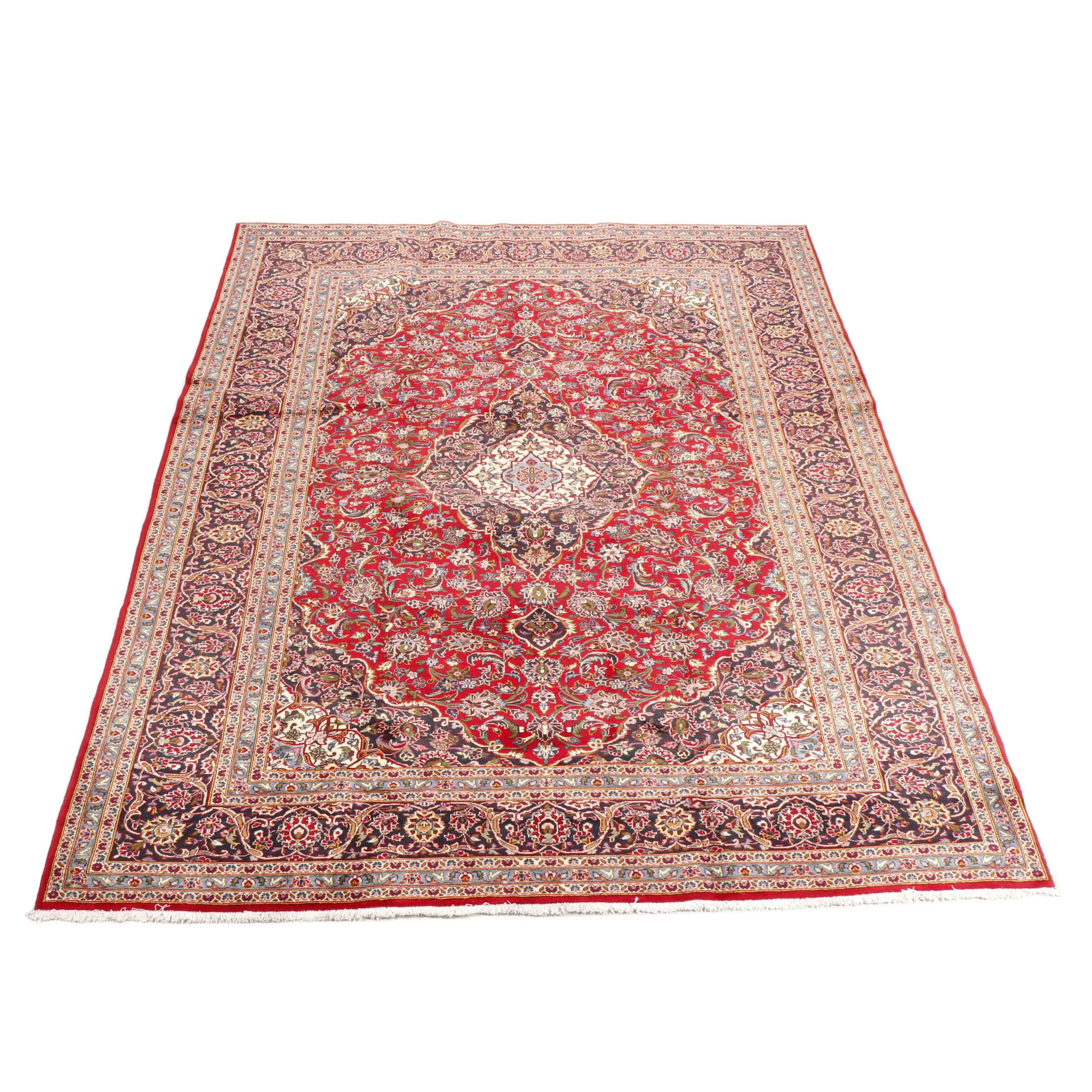 Hand-Knotted Persian Kashan Wool Room Sized Rug