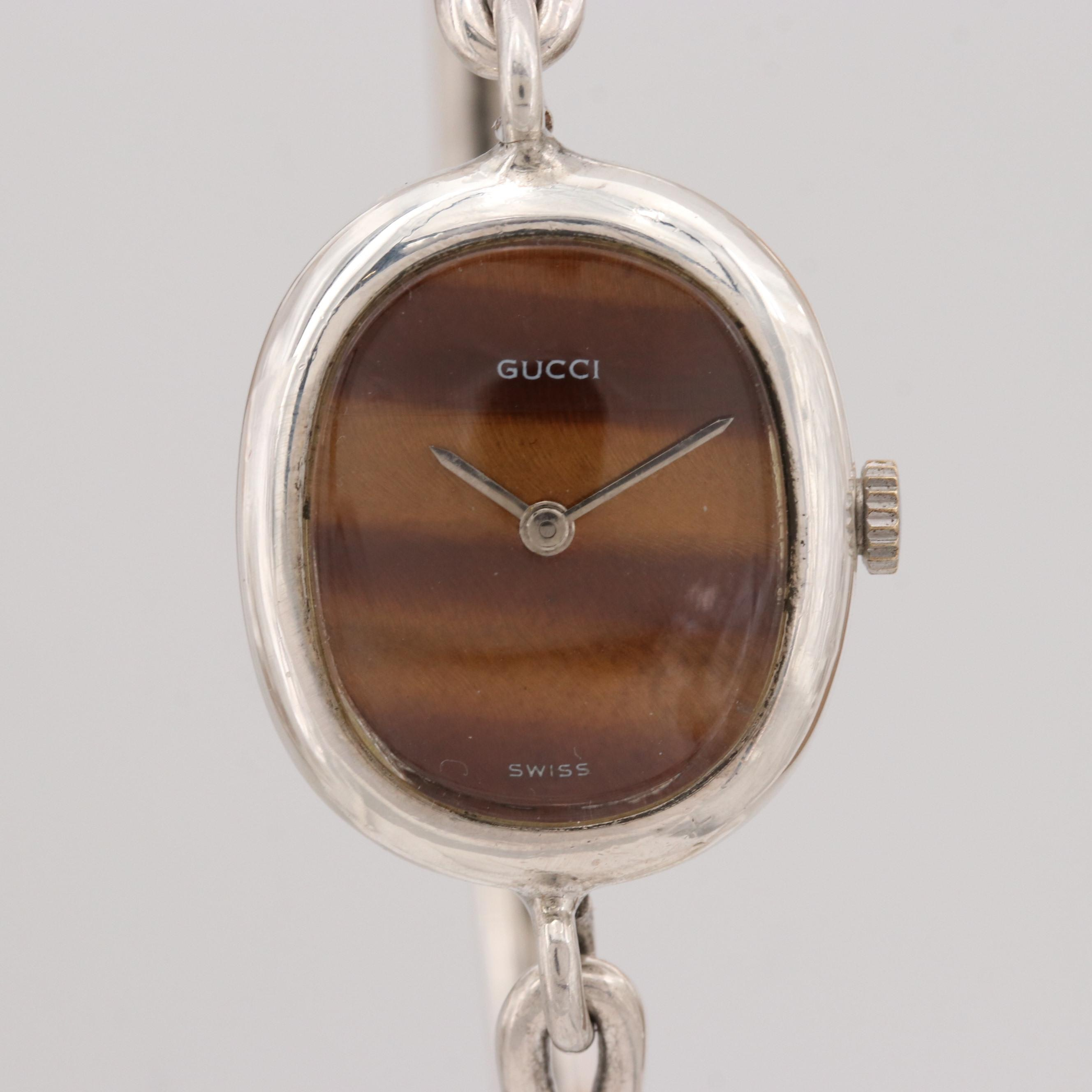 Vintage Gucci Sterling Silver Love Knot Stem Wind Wristwatch Circa 1960