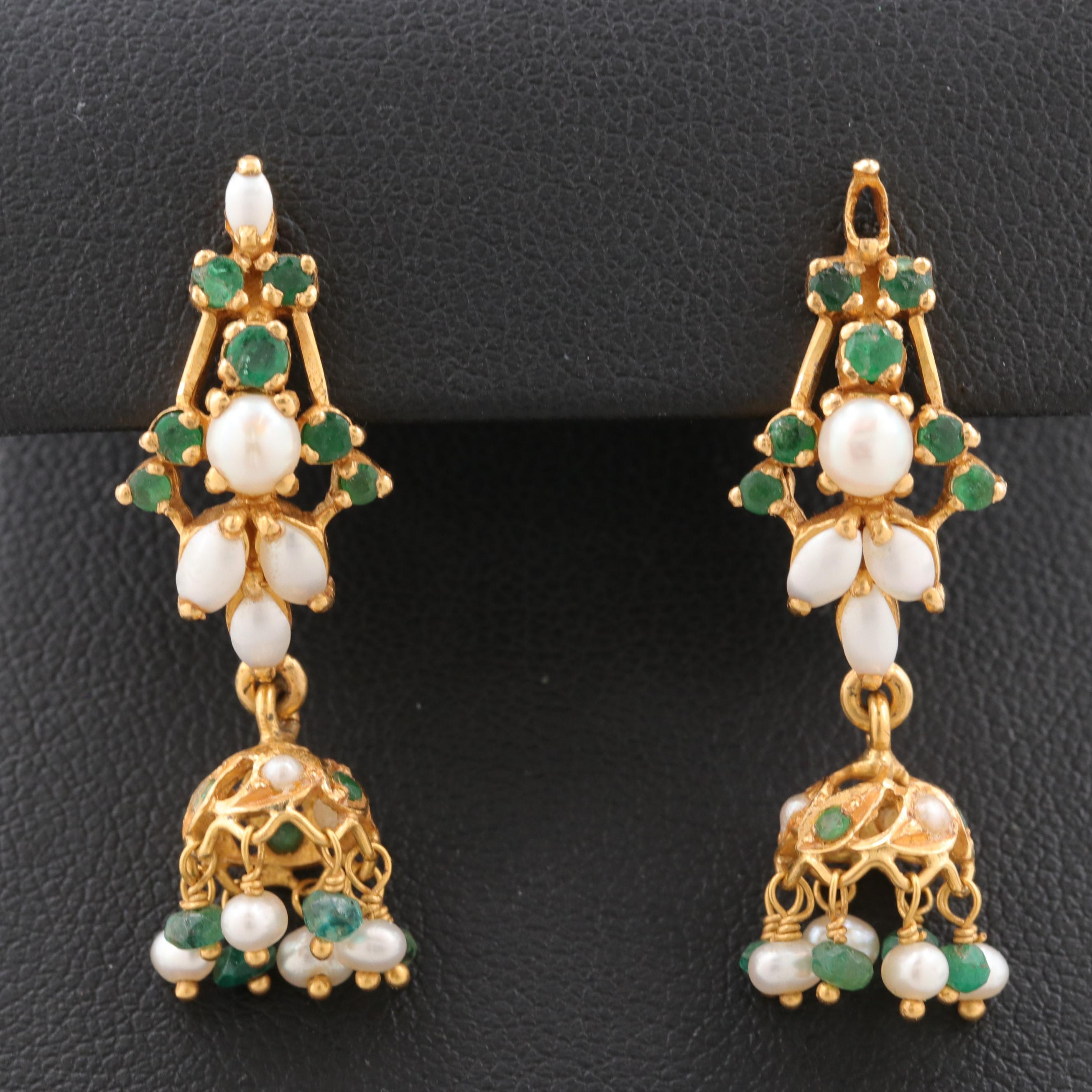 22K Yellow Gold Cultured Pearl, Mother of Pearl and Emerald Dangle Earrings