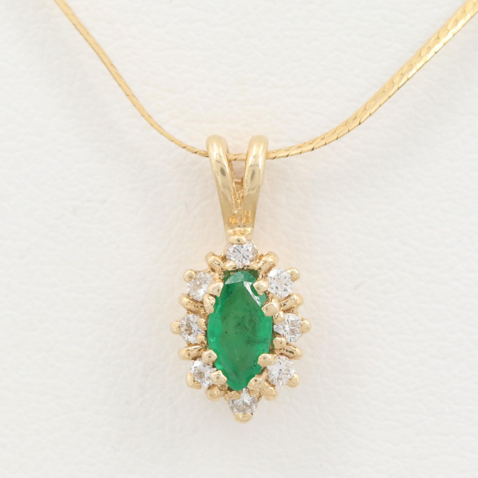 14K Yellow Gold Emerald and Diamond Pendant Necklace