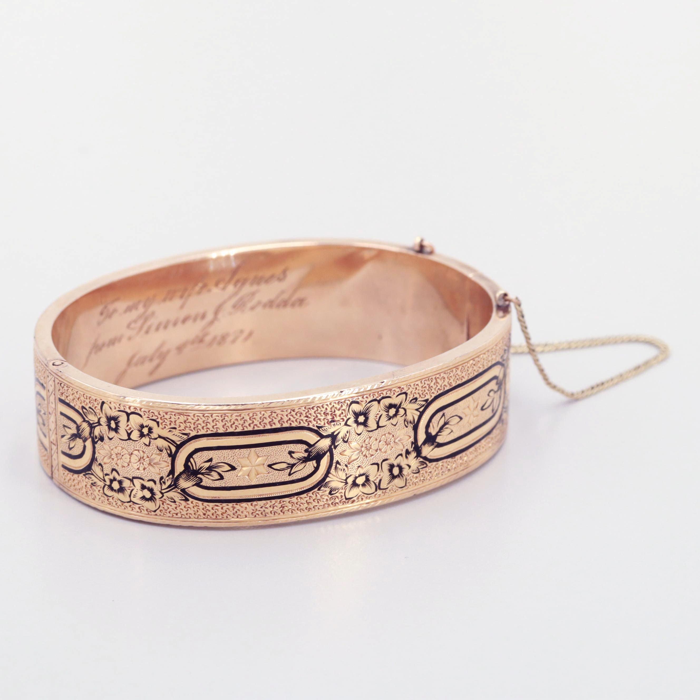 Taille d'Epargne Victorian Gold Tone Enamel Hinged Bracelet
