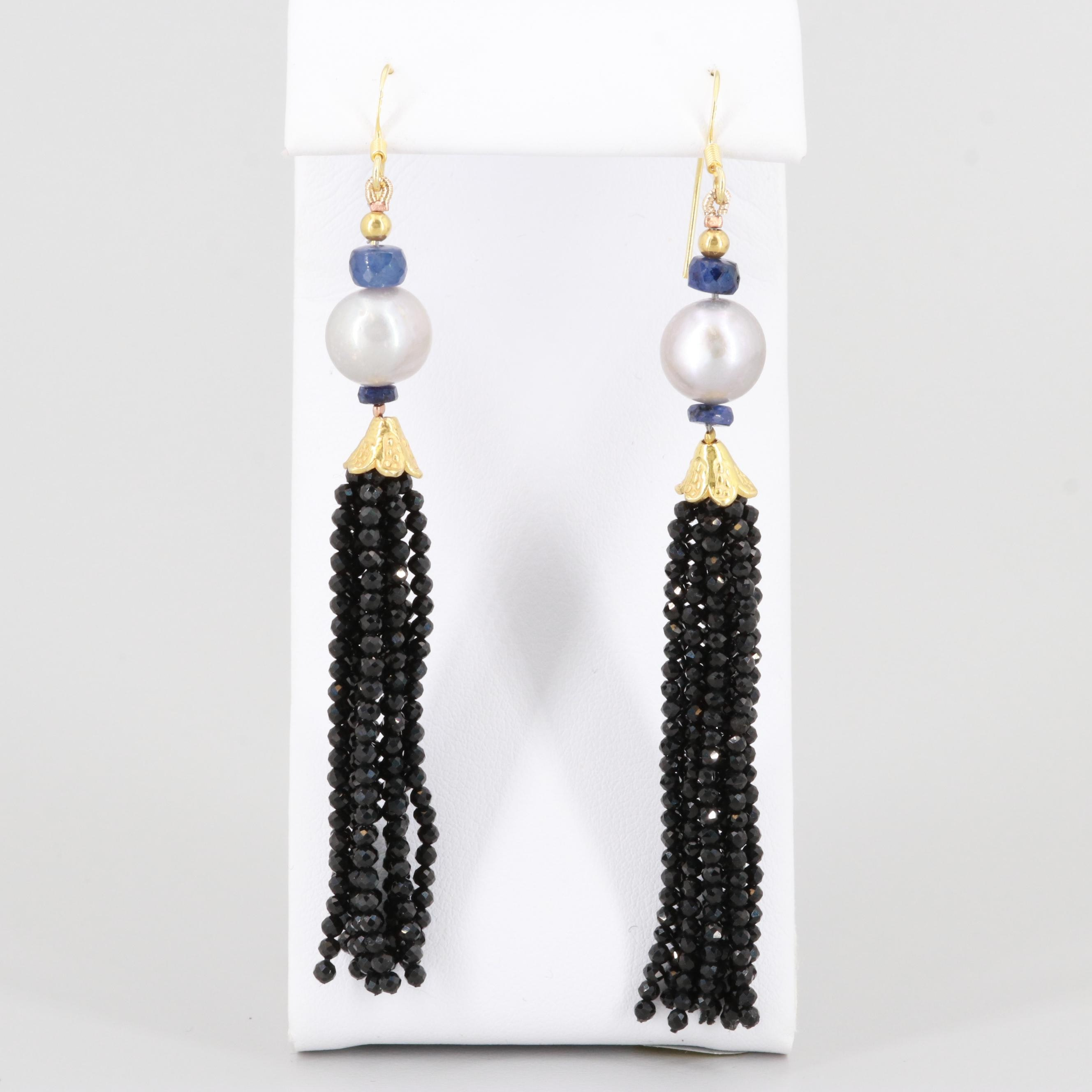 Gold Wash on Sterling Silver Corundum, Cultured Pearl and Black Onyx Earrings