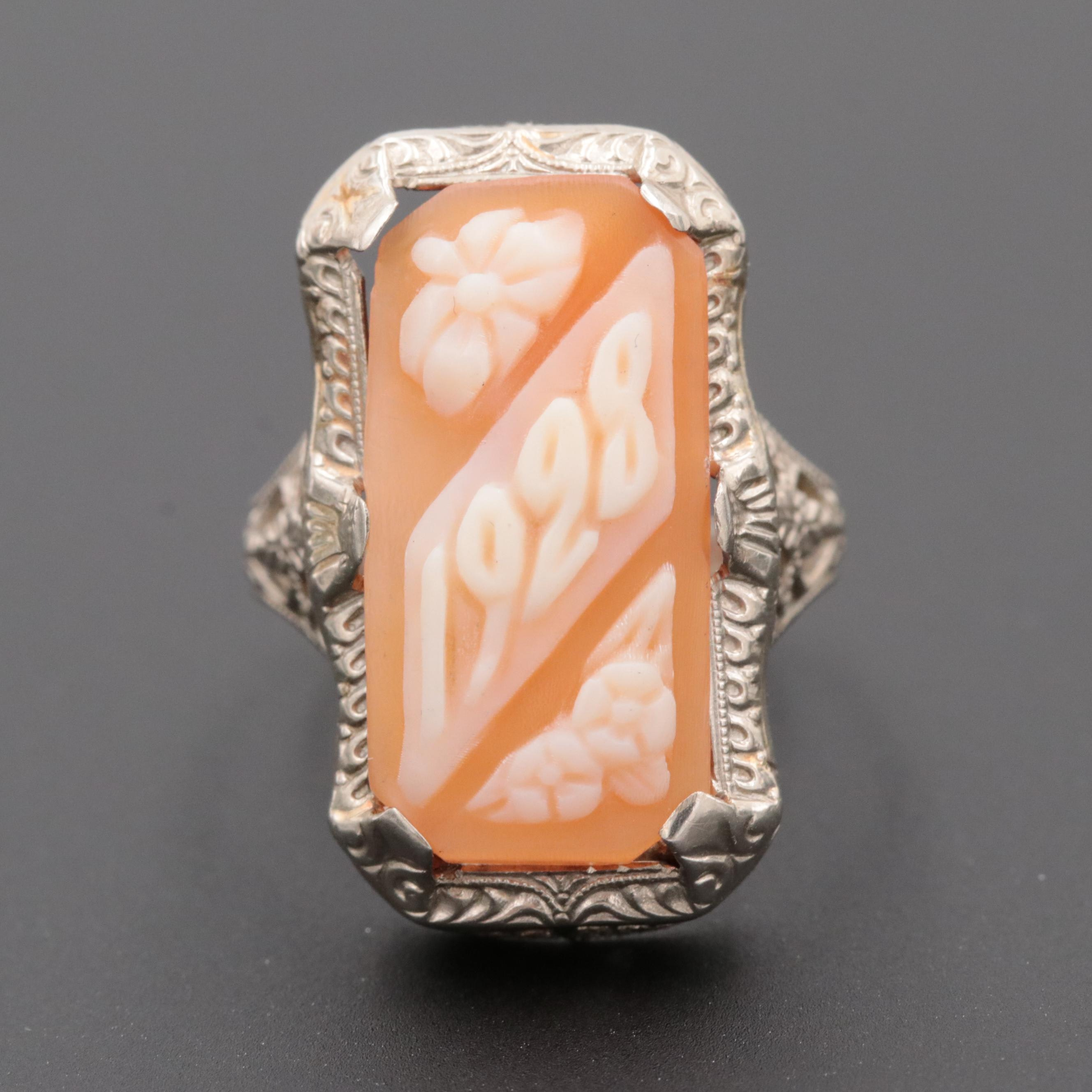 "Vintage 14K White Gold Filigree ""1928"" Shell Cameo Ring"