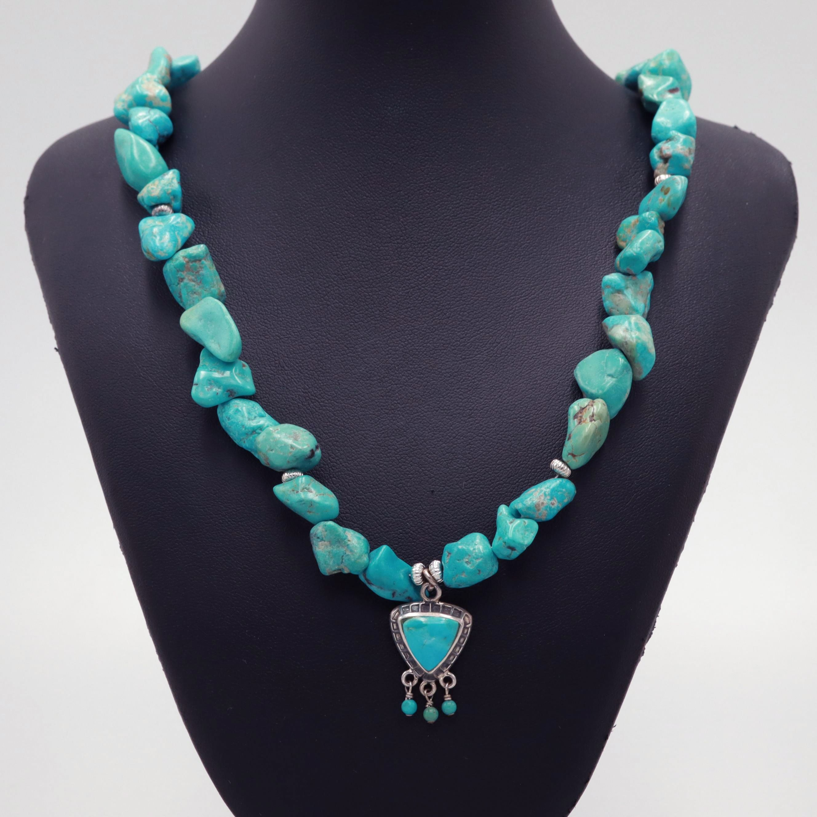 Sterling Silver Turquoise Toggle Necklace