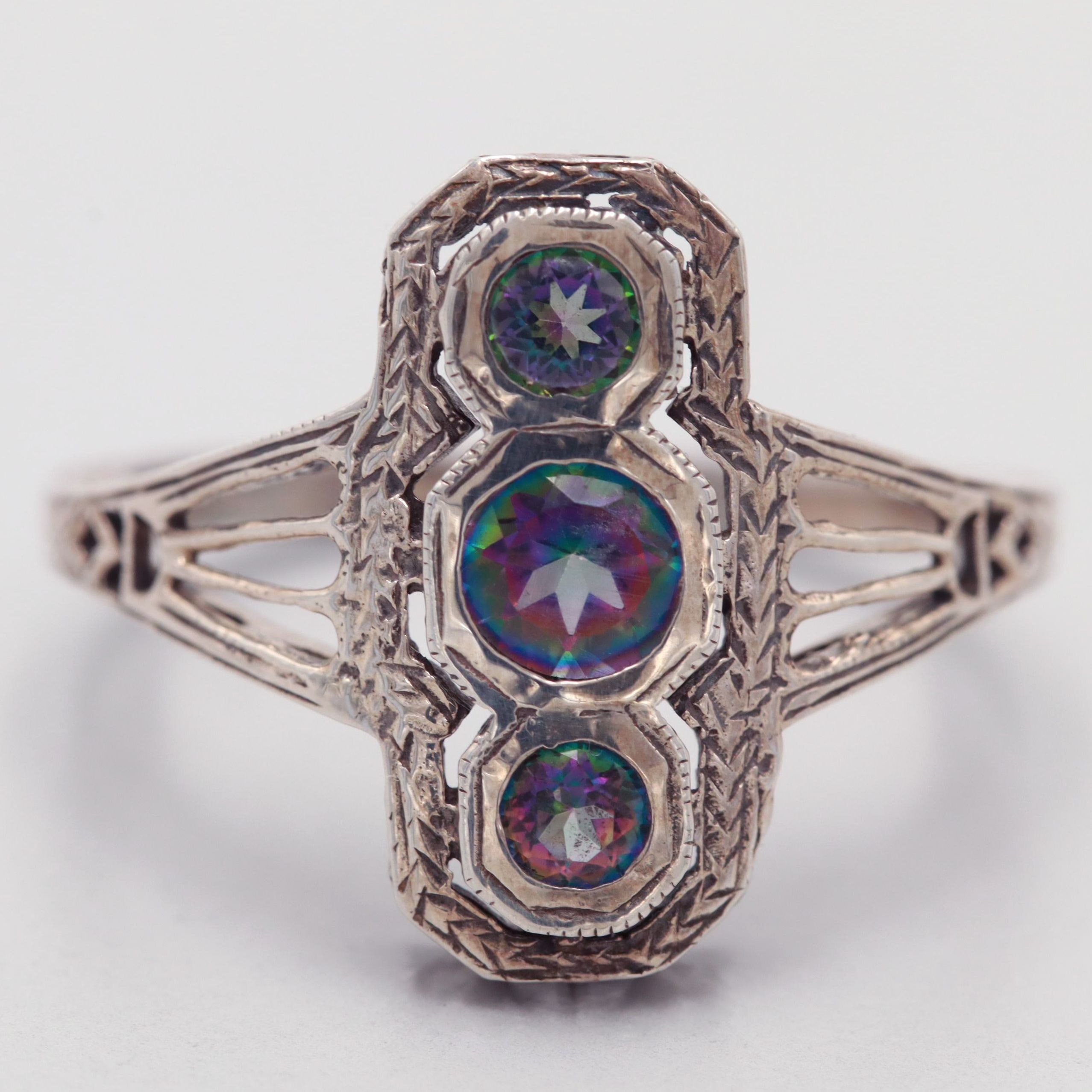 Vintage Sterling Silver Quartz Ring with Filigree Accents