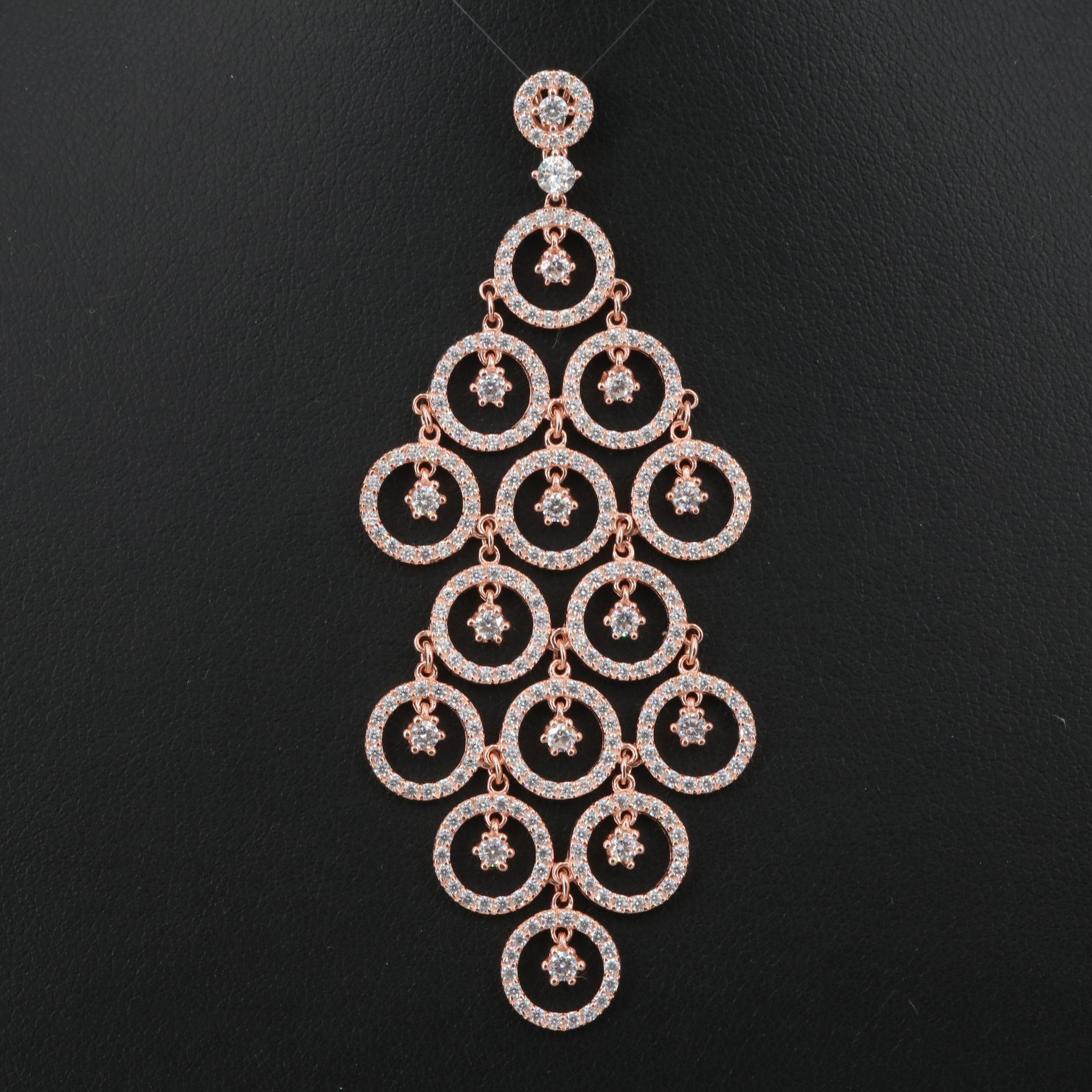 Rose Wash on Sterling Silver Cubic Zirconia Chandelier Pendant
