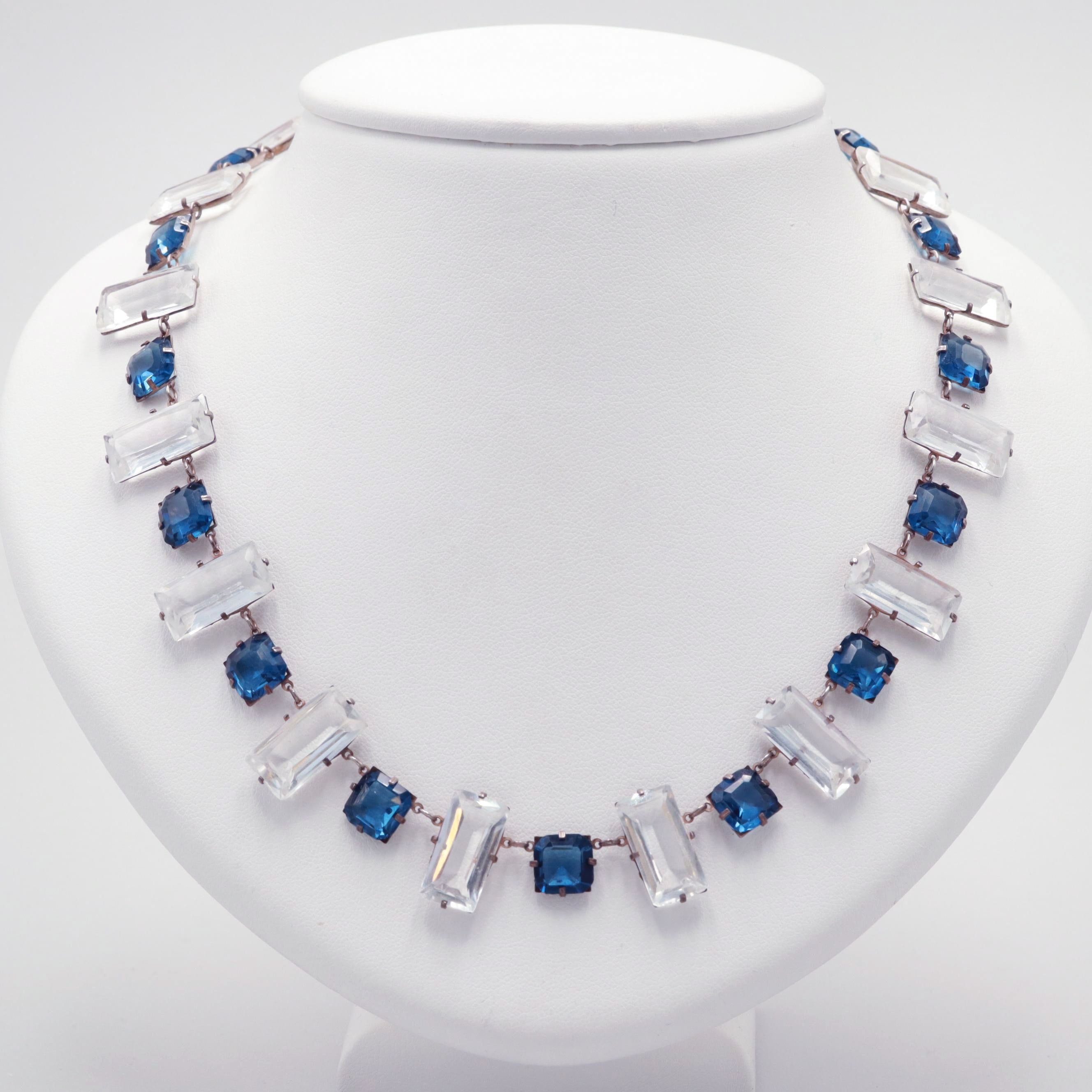 Circa 1940s Sterling Silver Glass Necklace