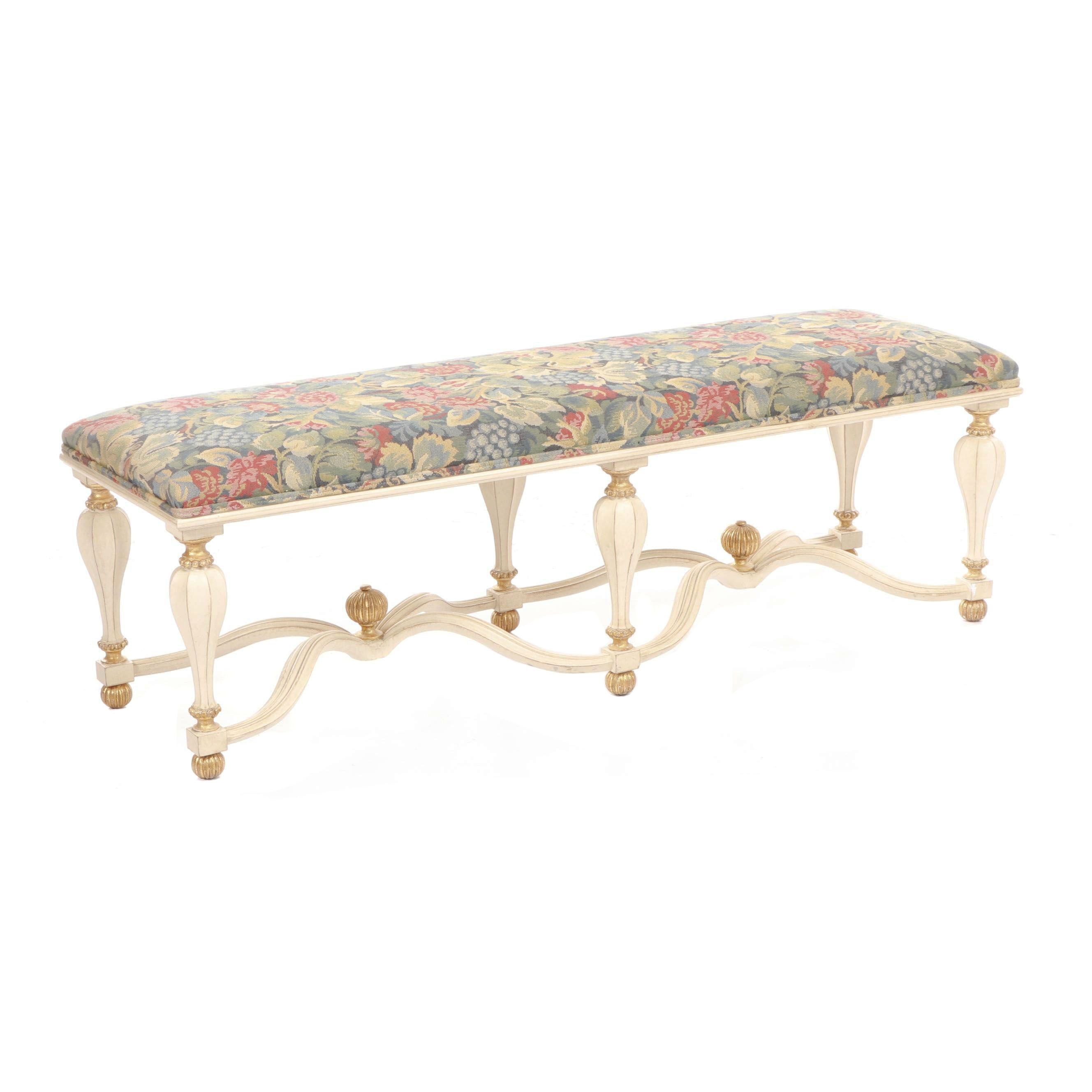 "Contemporary Decorative Crafts Italy ""Pavia"" Floral Upholstered Bench"