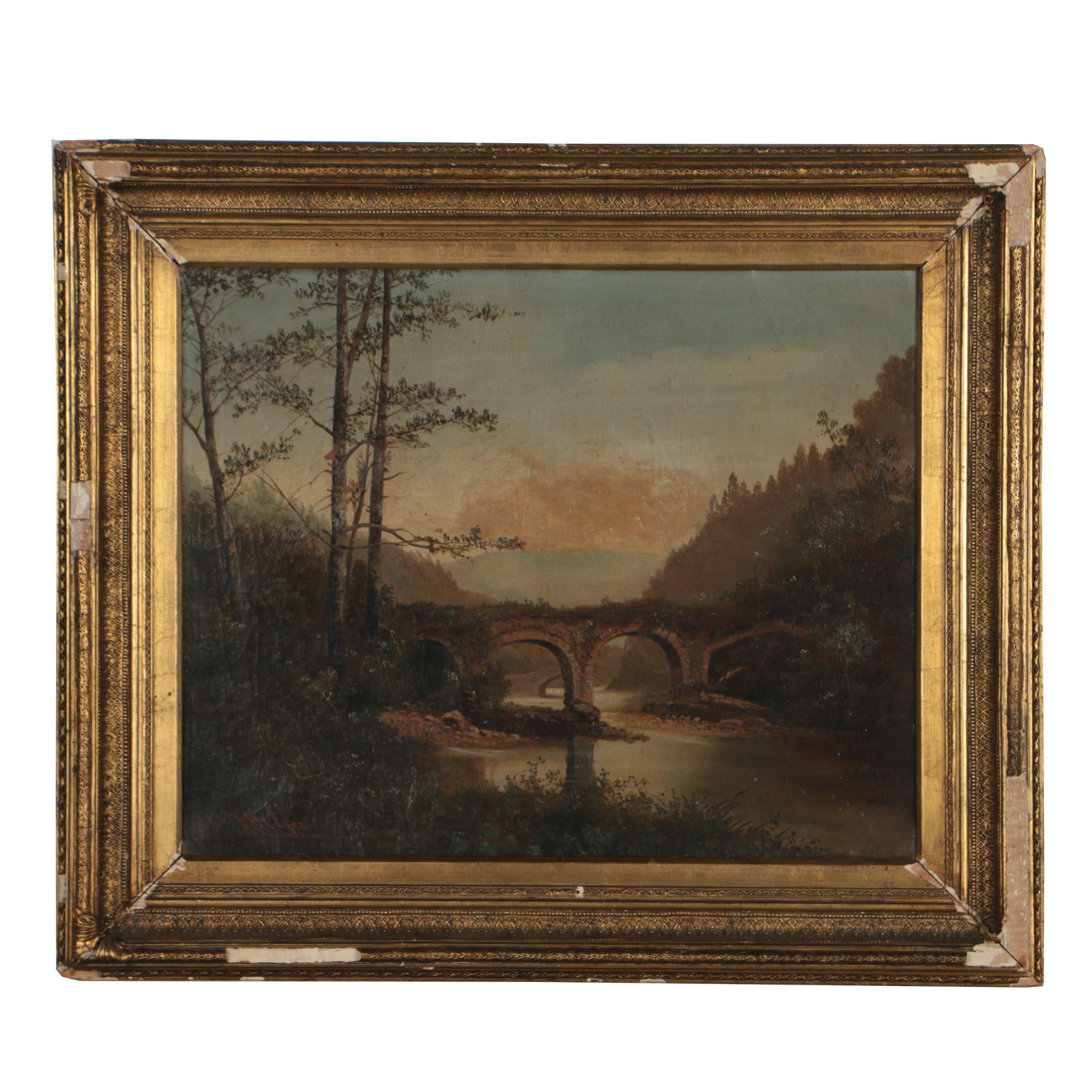 A. Melzer 19th Century Landscape Oil Painting